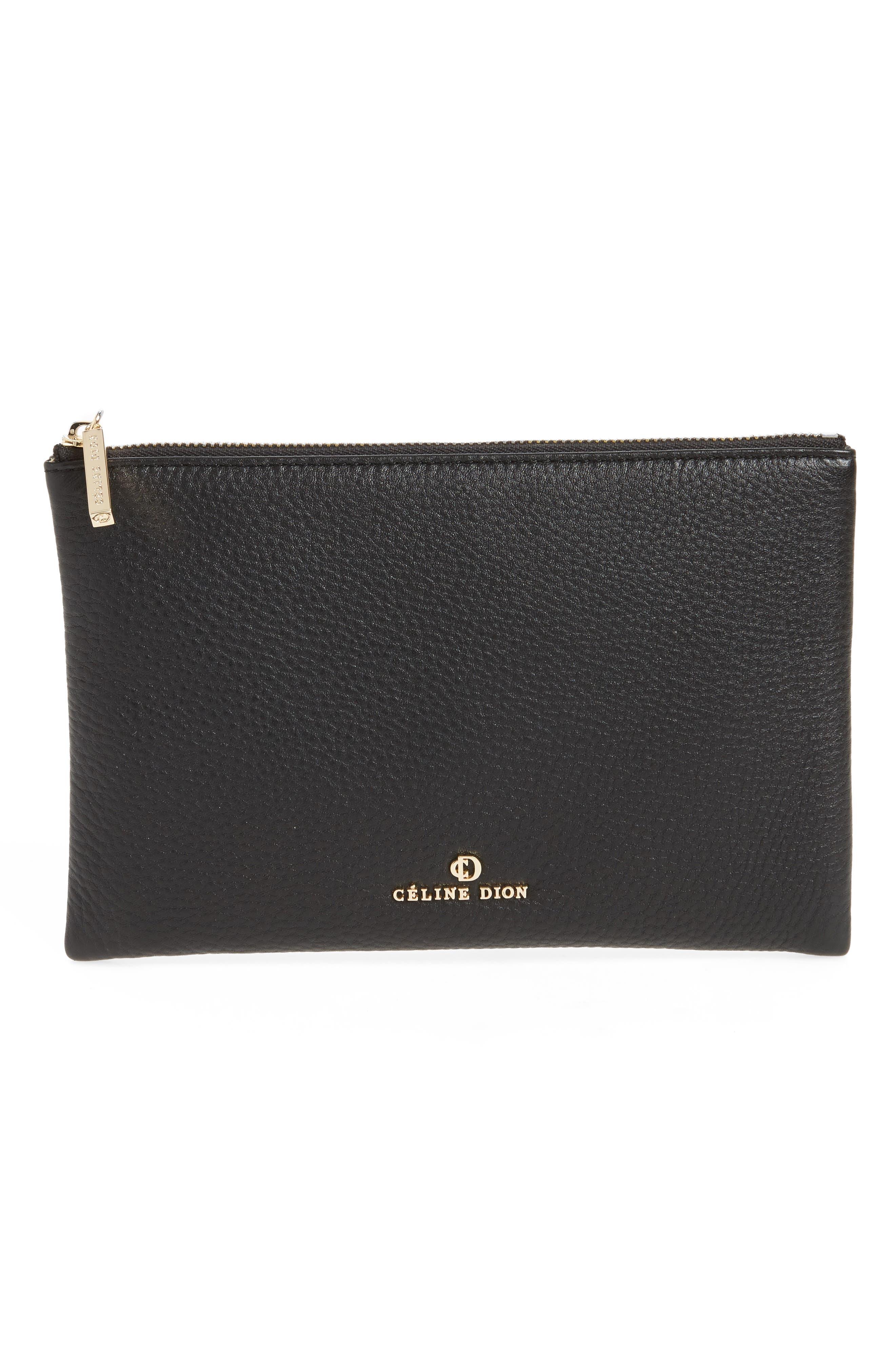 Céline Dion Adagio Leather Zip Pouch,                             Main thumbnail 1, color,                             001