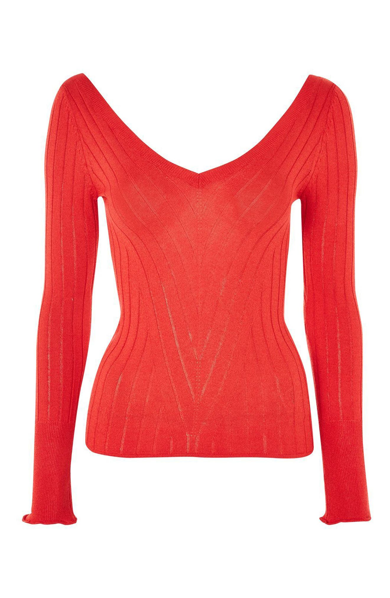 Wide Double V-Neck Ribbed Knit Top,                             Alternate thumbnail 4, color,                             600