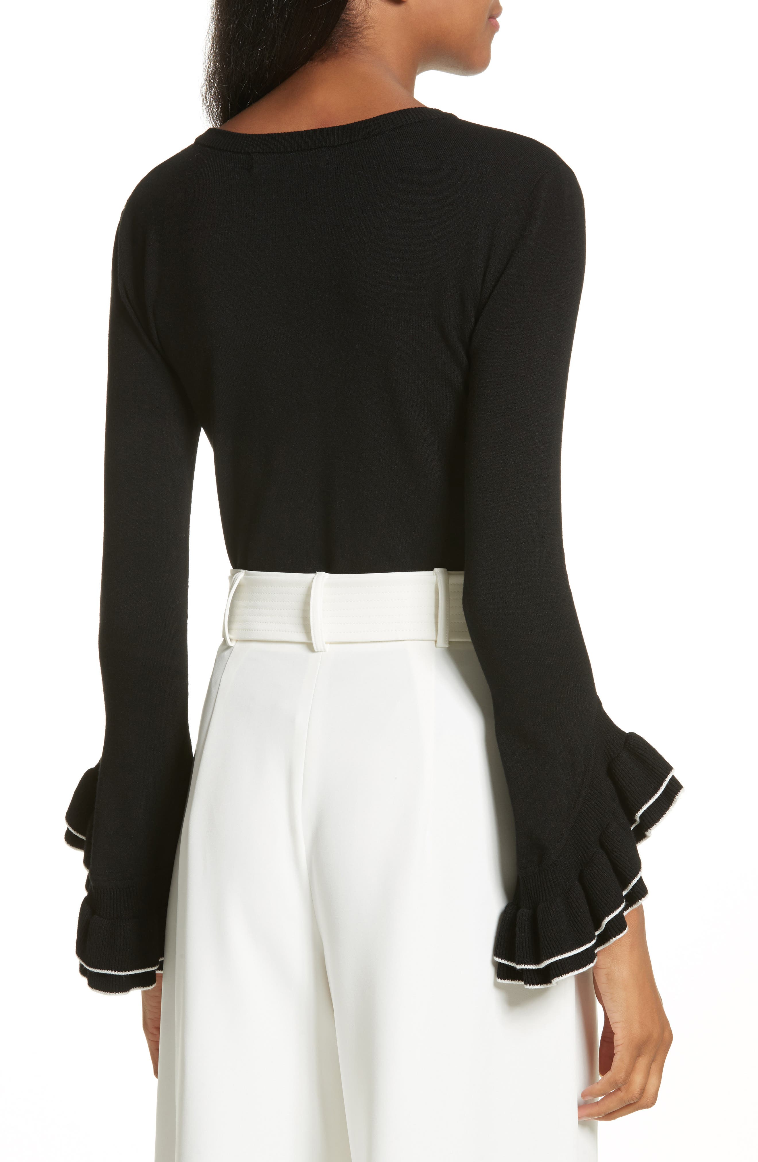 Tiered Ruffle Sleeve Sweater,                             Alternate thumbnail 3, color,