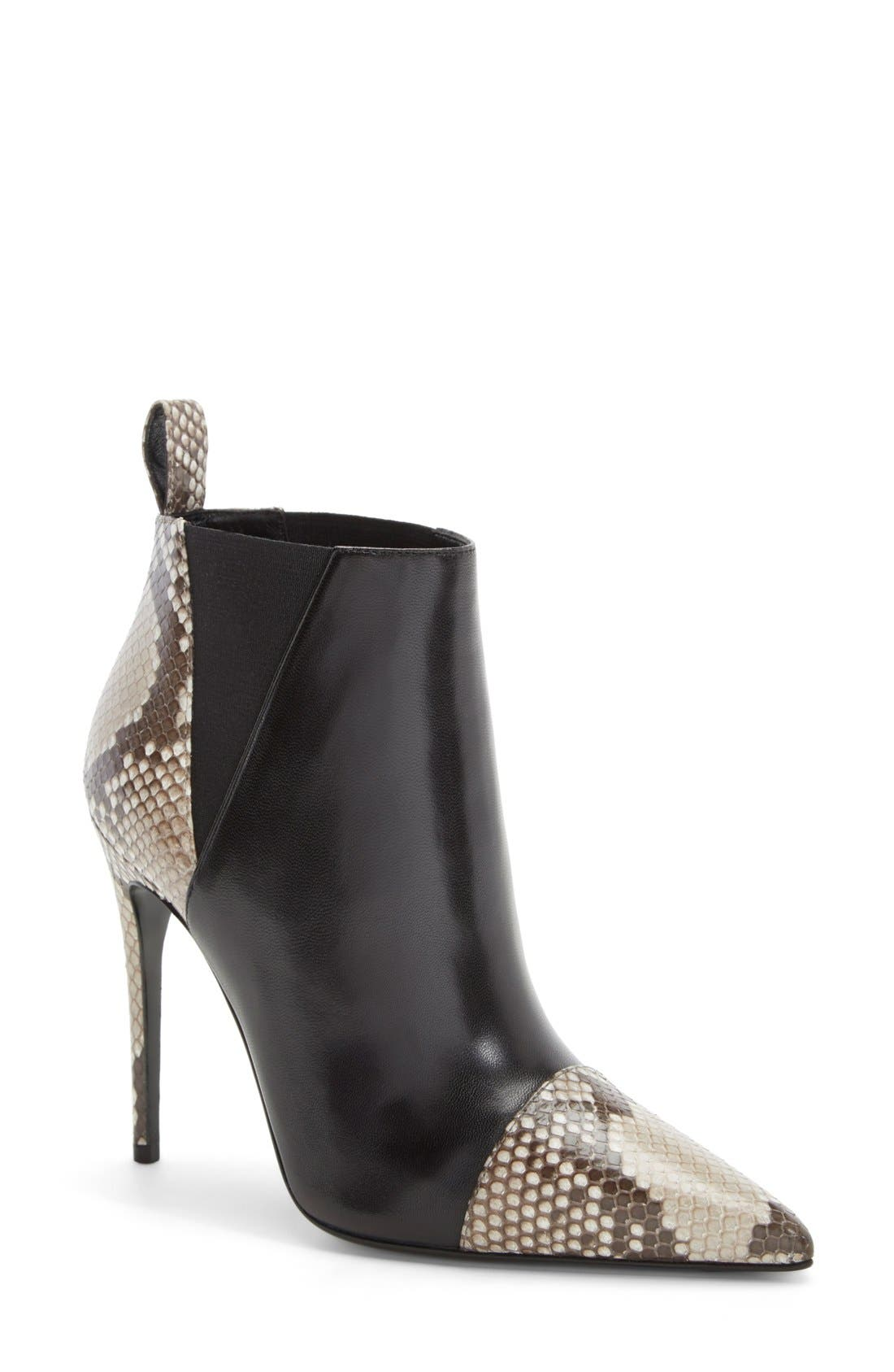 'Daisy' Pointy Toe Genuine Python & Leather Bootie,                             Main thumbnail 1, color,                             001