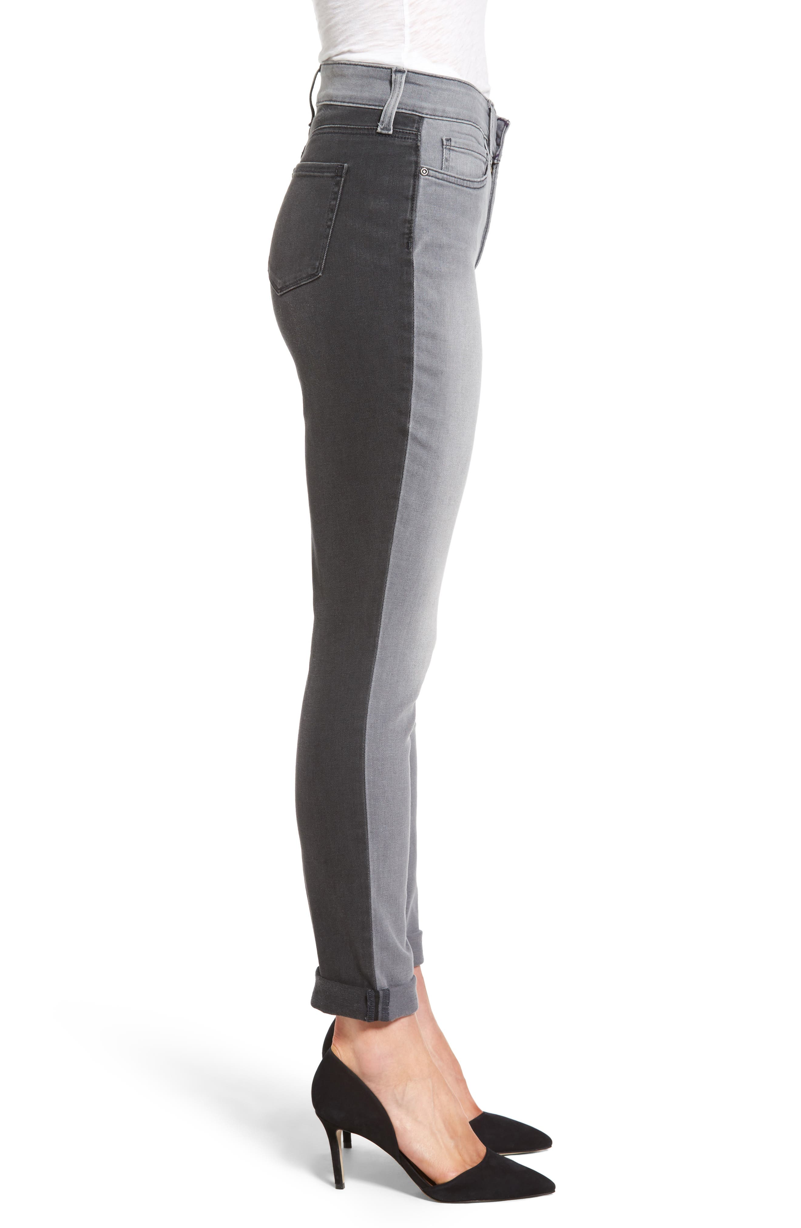 Two Tone Stretch Girlfriend Jeans,                             Alternate thumbnail 3, color,                             020