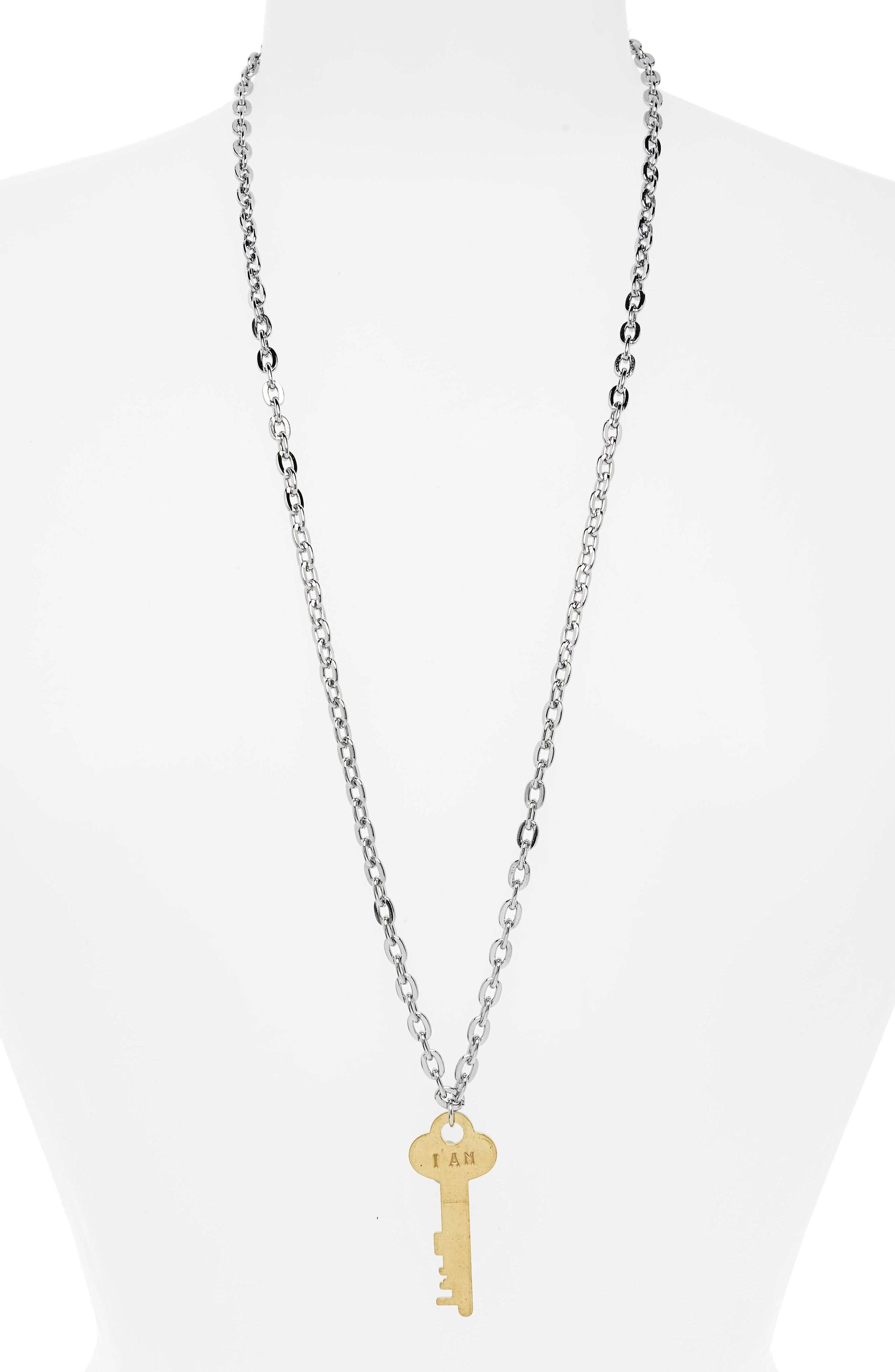 I Am Fearless Key Charm Necklace,                             Main thumbnail 1, color,                             043