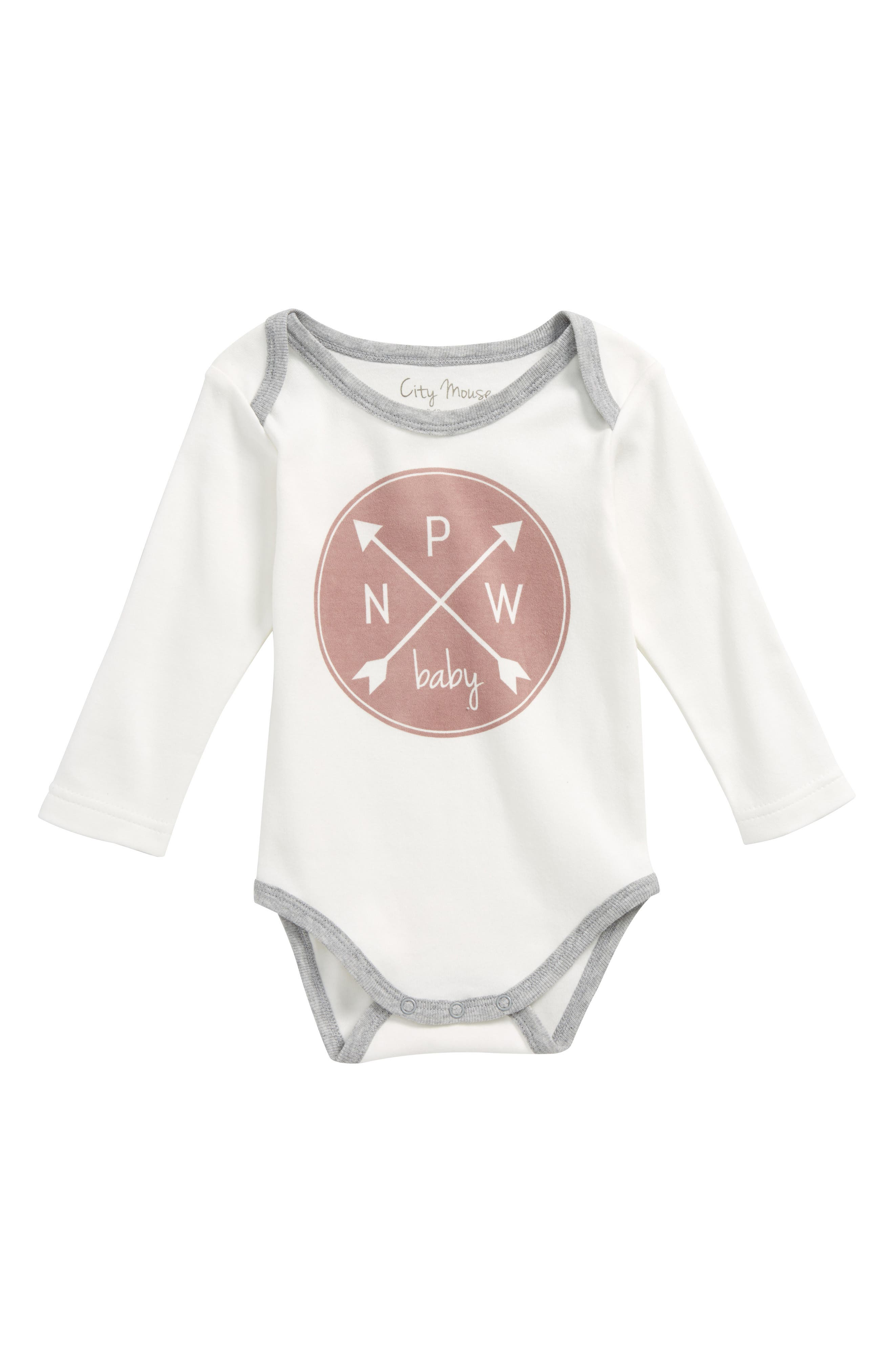 Logo Graphic Bodysuit,                             Main thumbnail 1, color,                             OFF WHITE/ WOODROSE