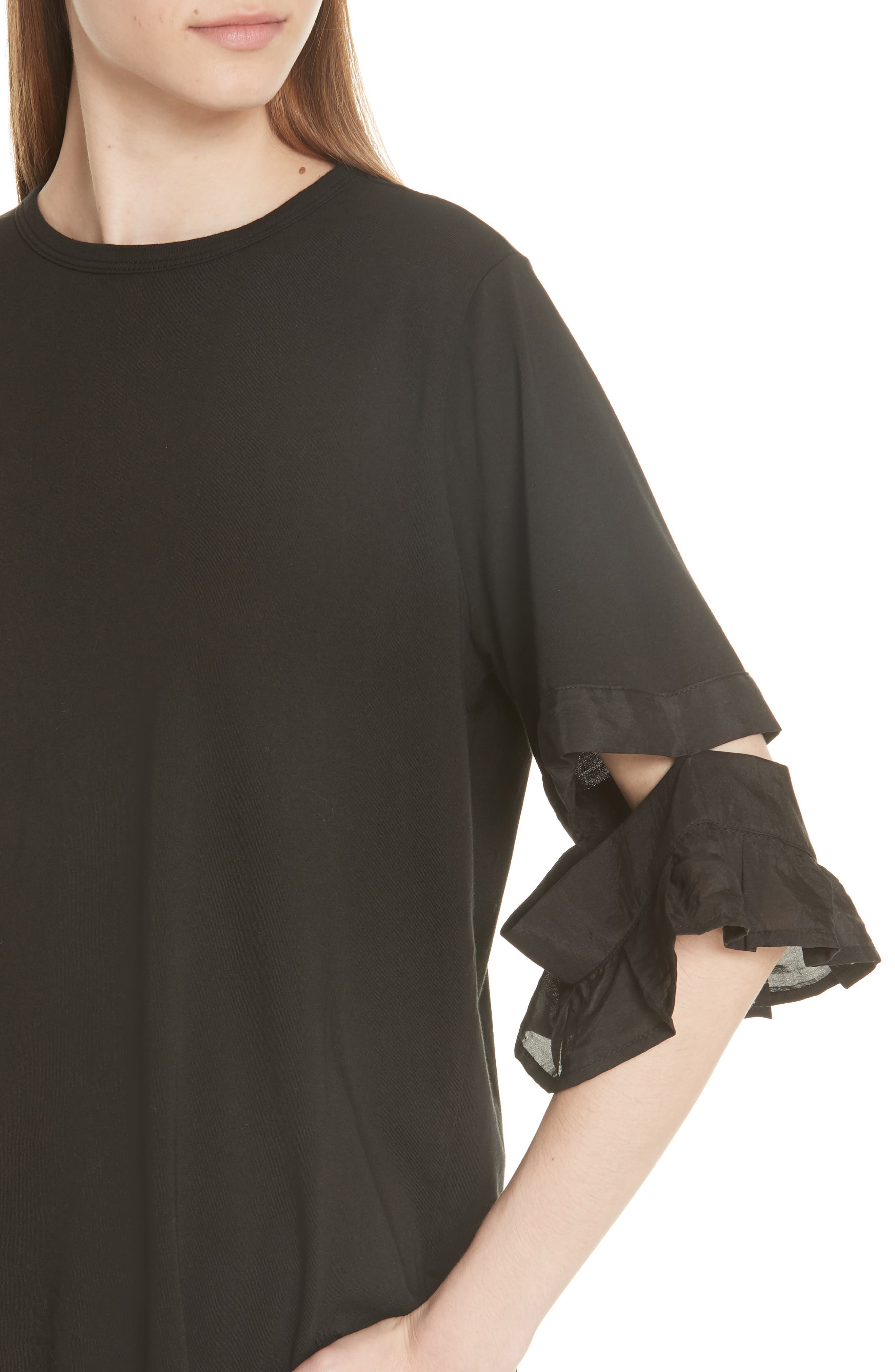 Open Sleeve Top,                             Alternate thumbnail 4, color,                             BLACK