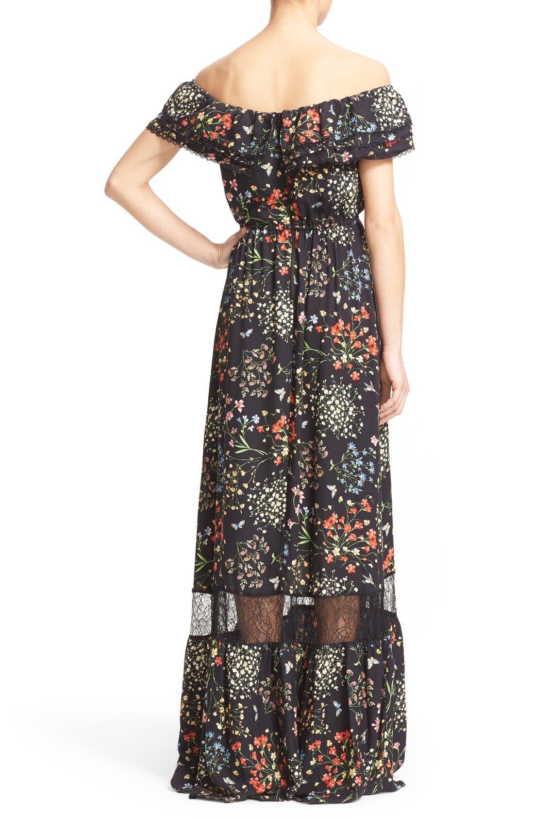 'Cheri' Floral Print Off the Shoulder Maxi Dress,                             Alternate thumbnail 3, color,                             002