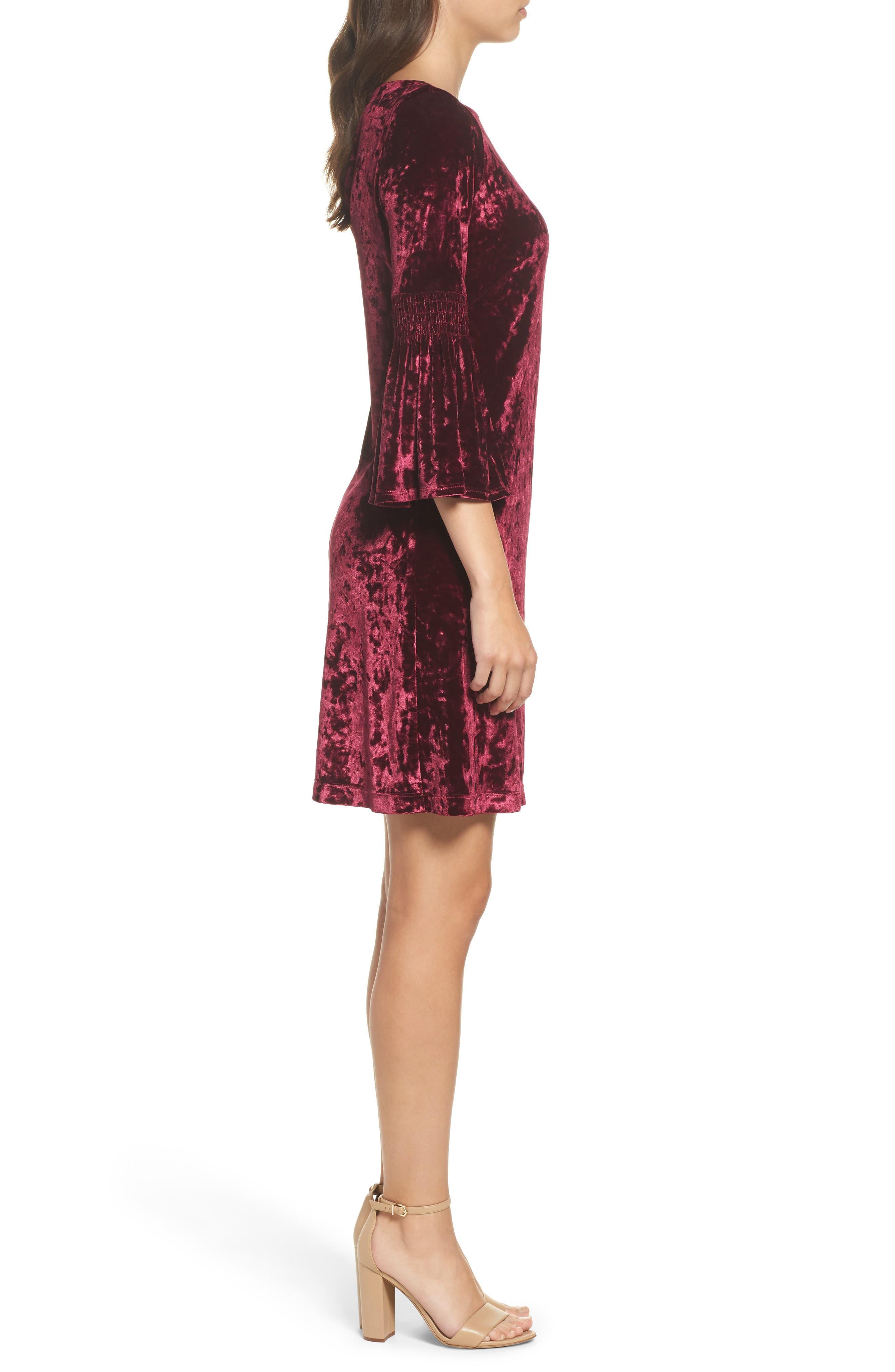 Crushed Velvet Bell Sleeve Dress,                             Alternate thumbnail 3, color,                             601