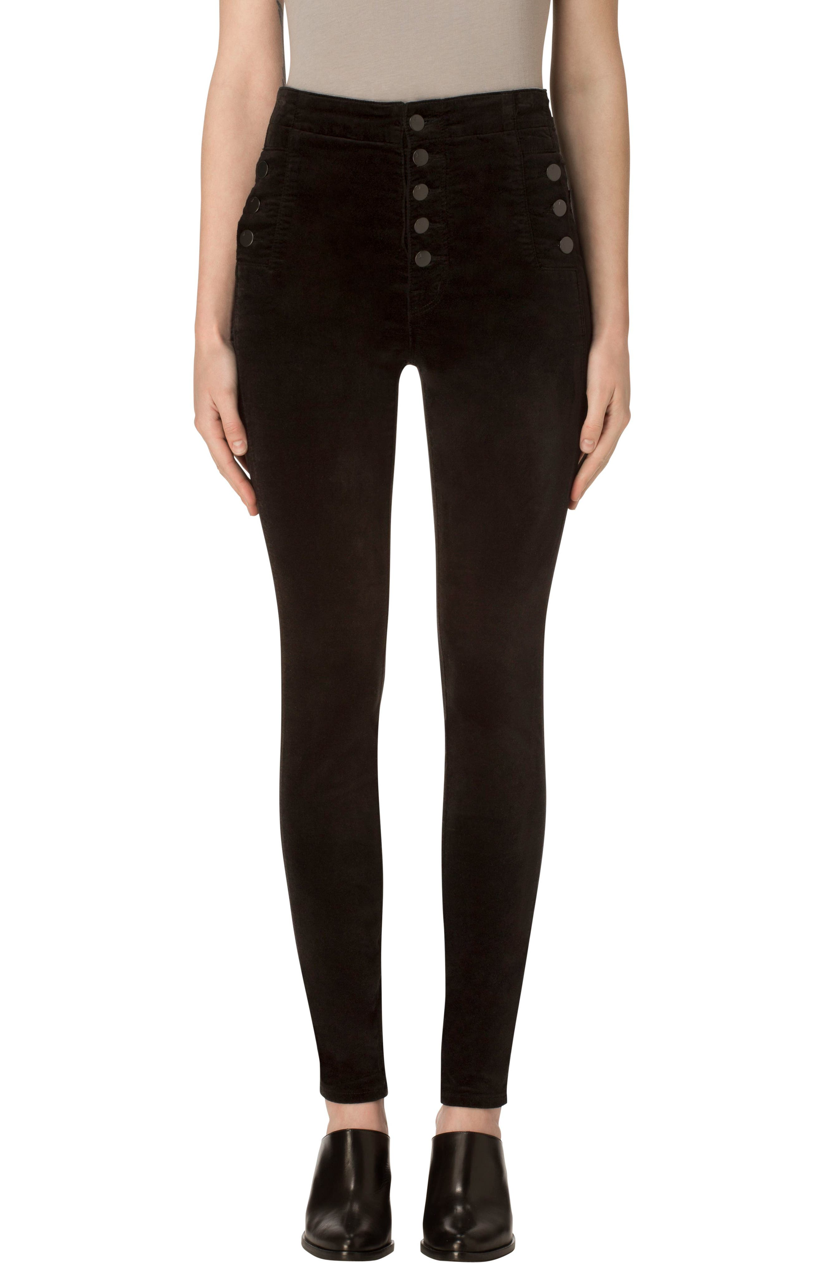 Natasha Sky High Velvet Skinny Pants,                             Main thumbnail 1, color,                             BLACK