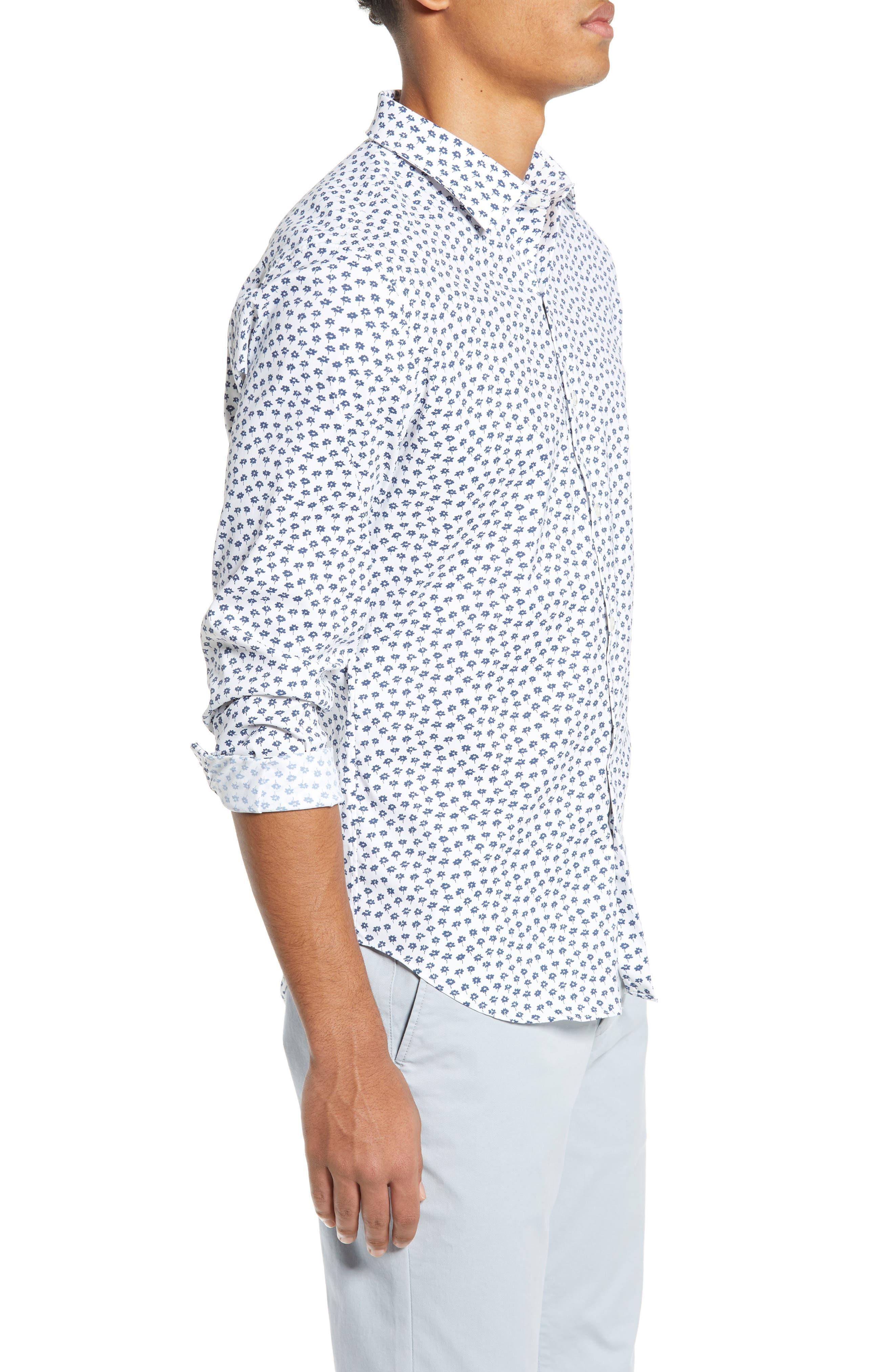 Slim Fit Floral Tech Sport Shirt,                             Alternate thumbnail 4, color,                             FLORAL STAMP - PEACOCK