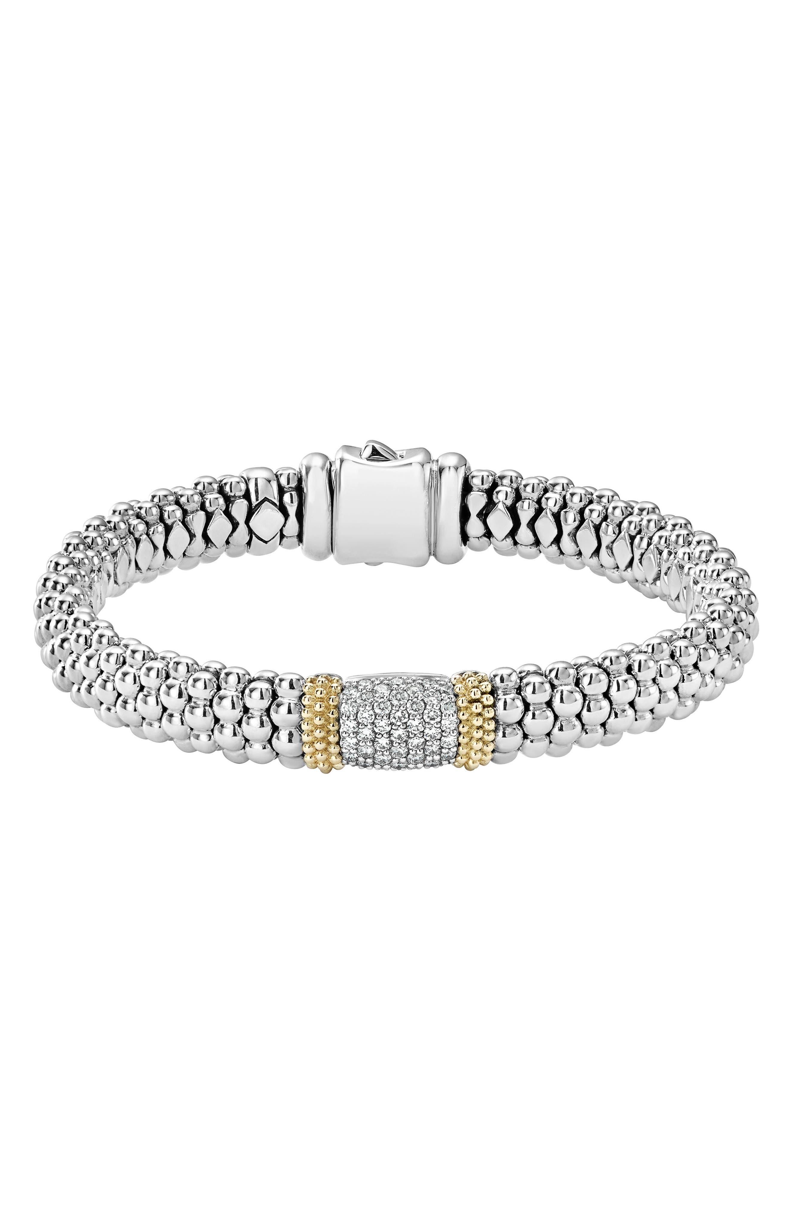 Diamond Lux Pavé Station Rope Bracelet,                             Main thumbnail 1, color,                             DIAMOND