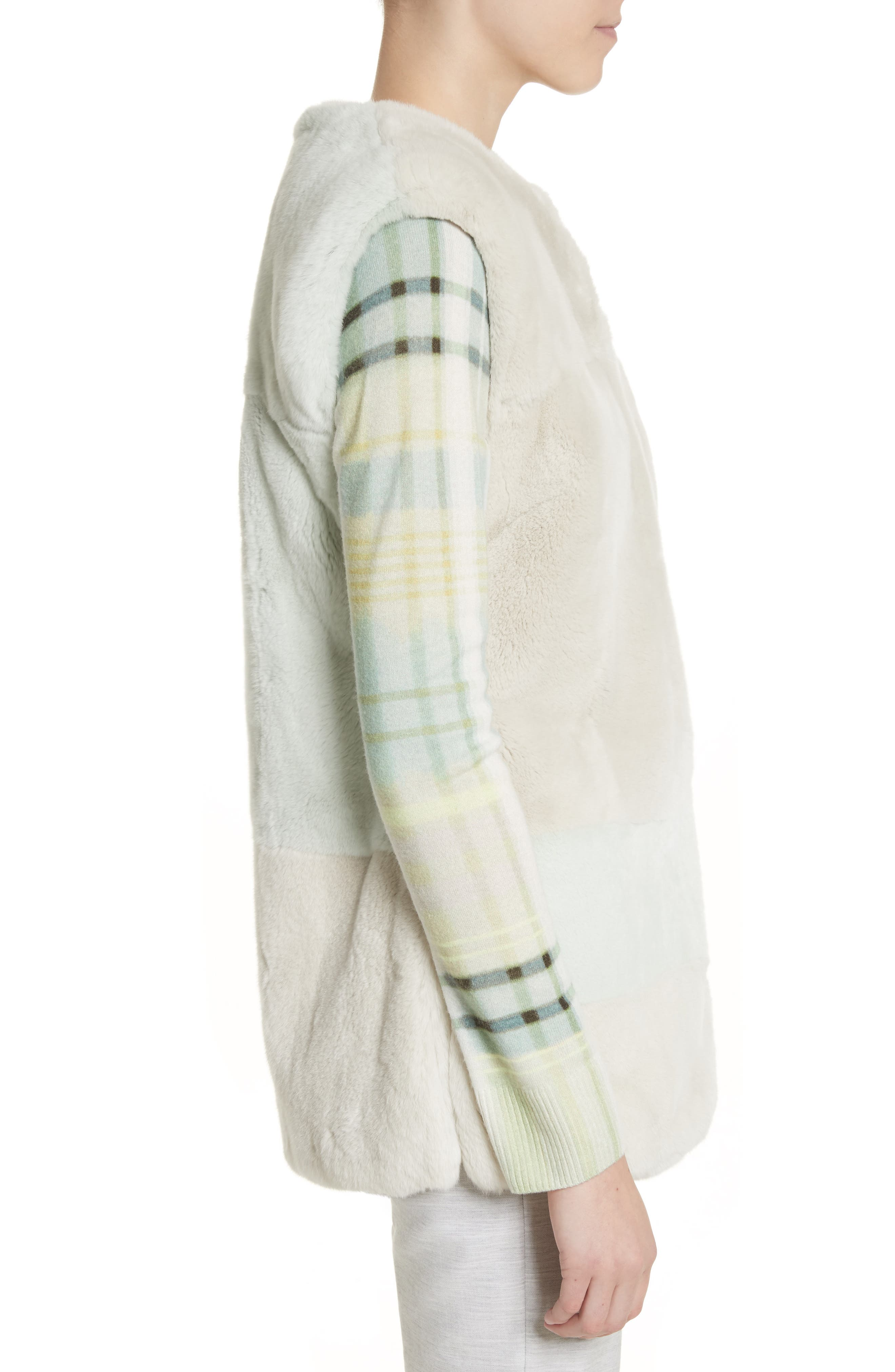Genuine Rabbit Fur Intarsia Vest,                             Alternate thumbnail 3, color,                             205