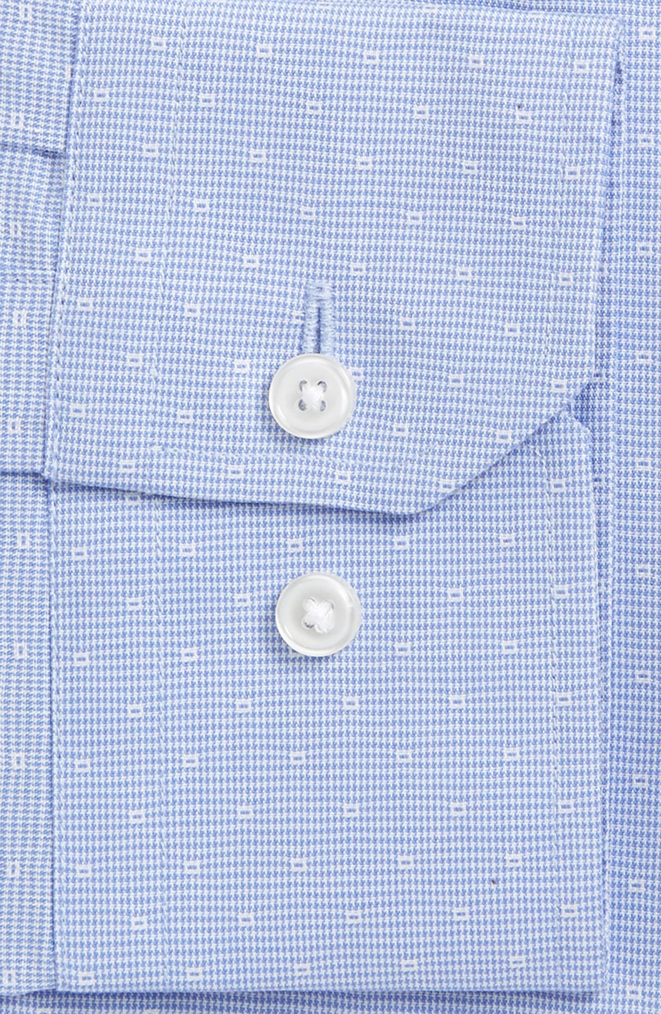 Trim Fit Non-Iron Stretch Houndstooth Dress Shirt,                             Alternate thumbnail 4, color,