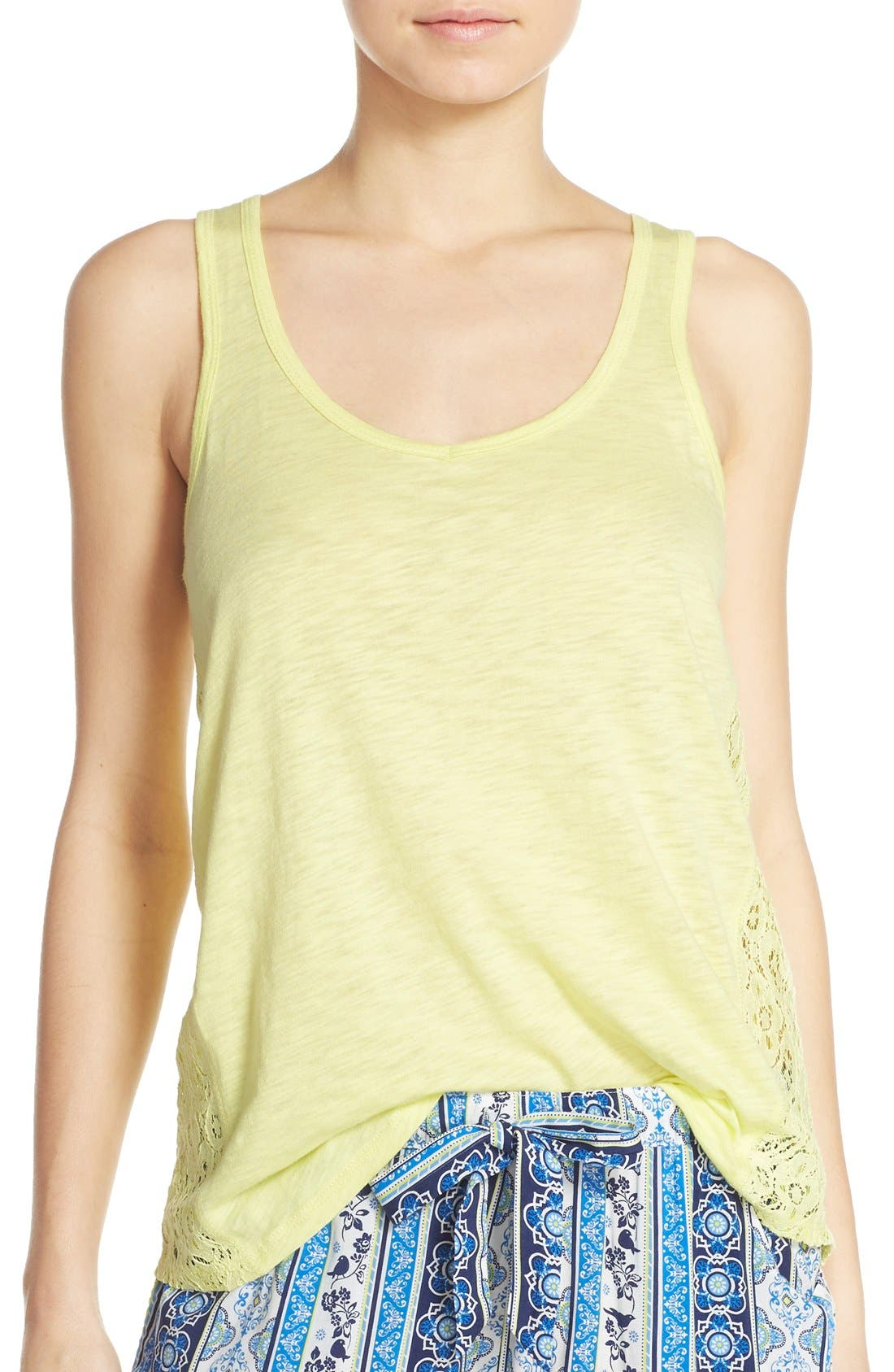 Lace Inset Jersey Tank,                             Main thumbnail 1, color,                             325