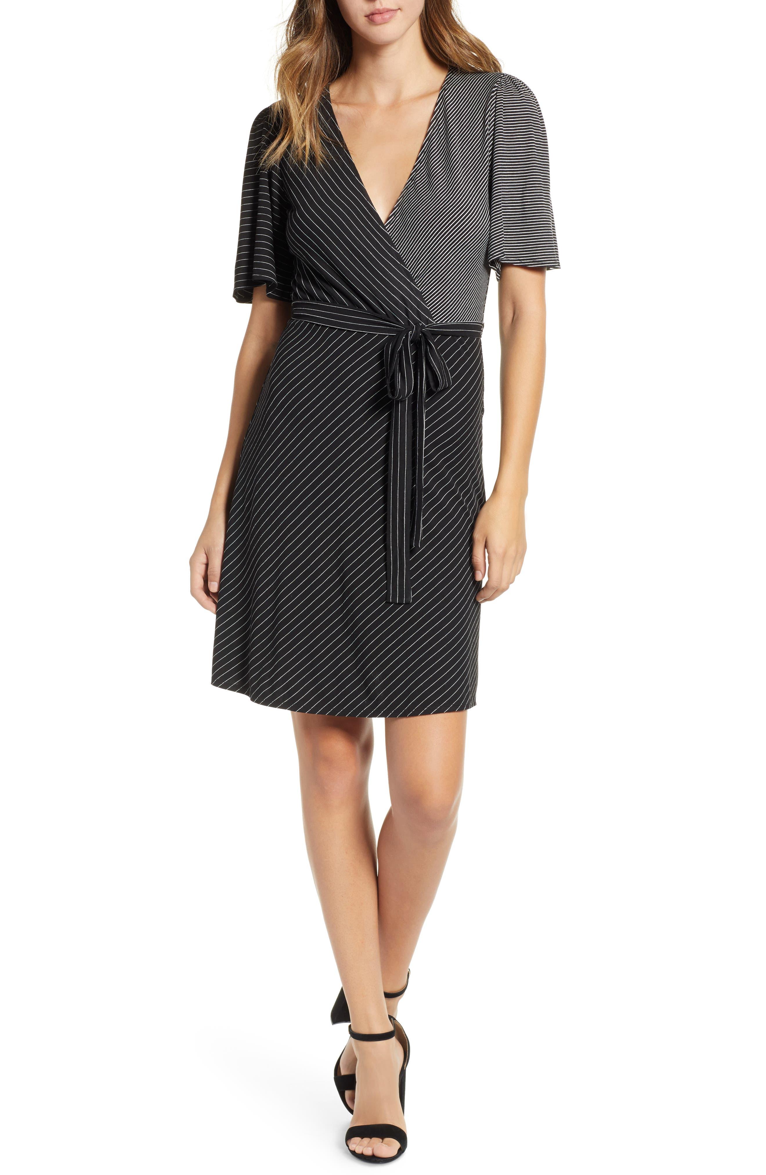 Socialite Mix Stripe Dress, Black