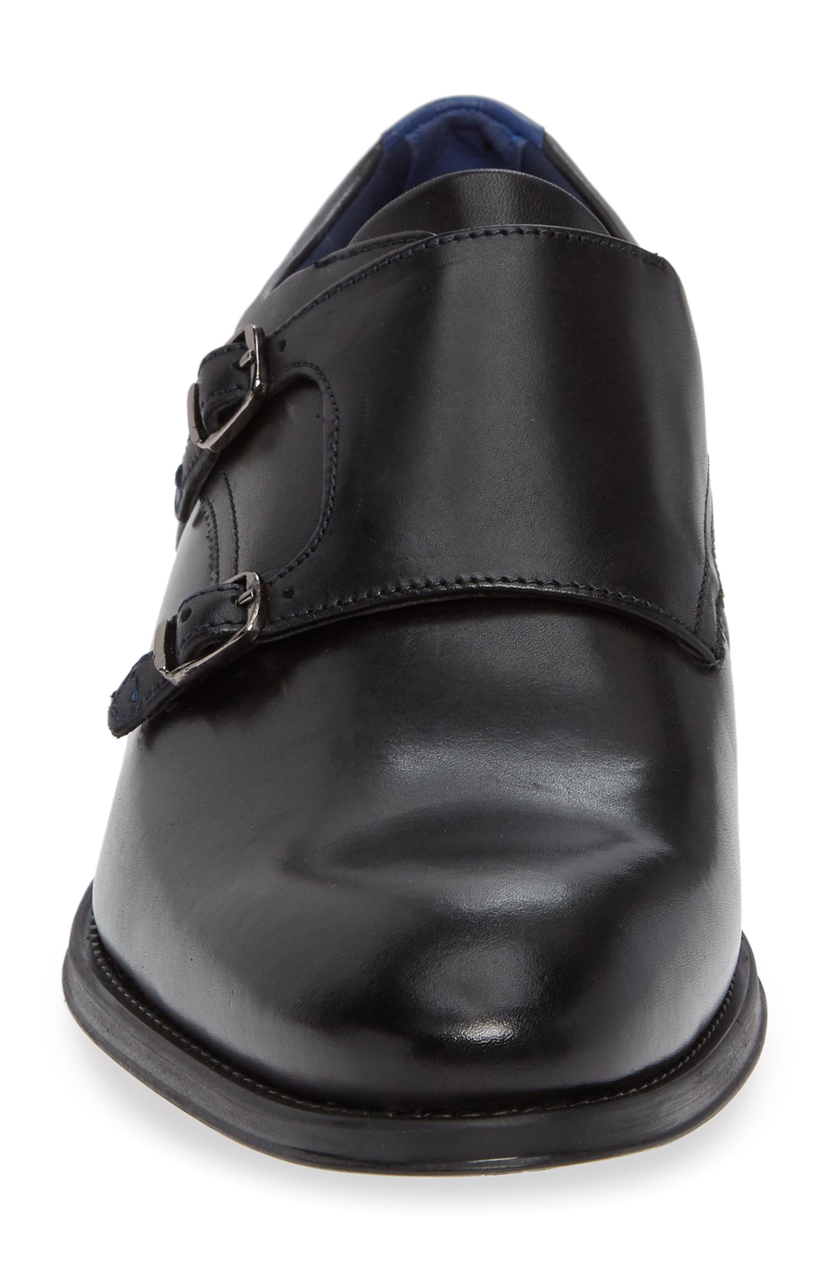 Cathon Double Buckle Monk Shoe,                             Alternate thumbnail 4, color,                             BLACK LEATHER