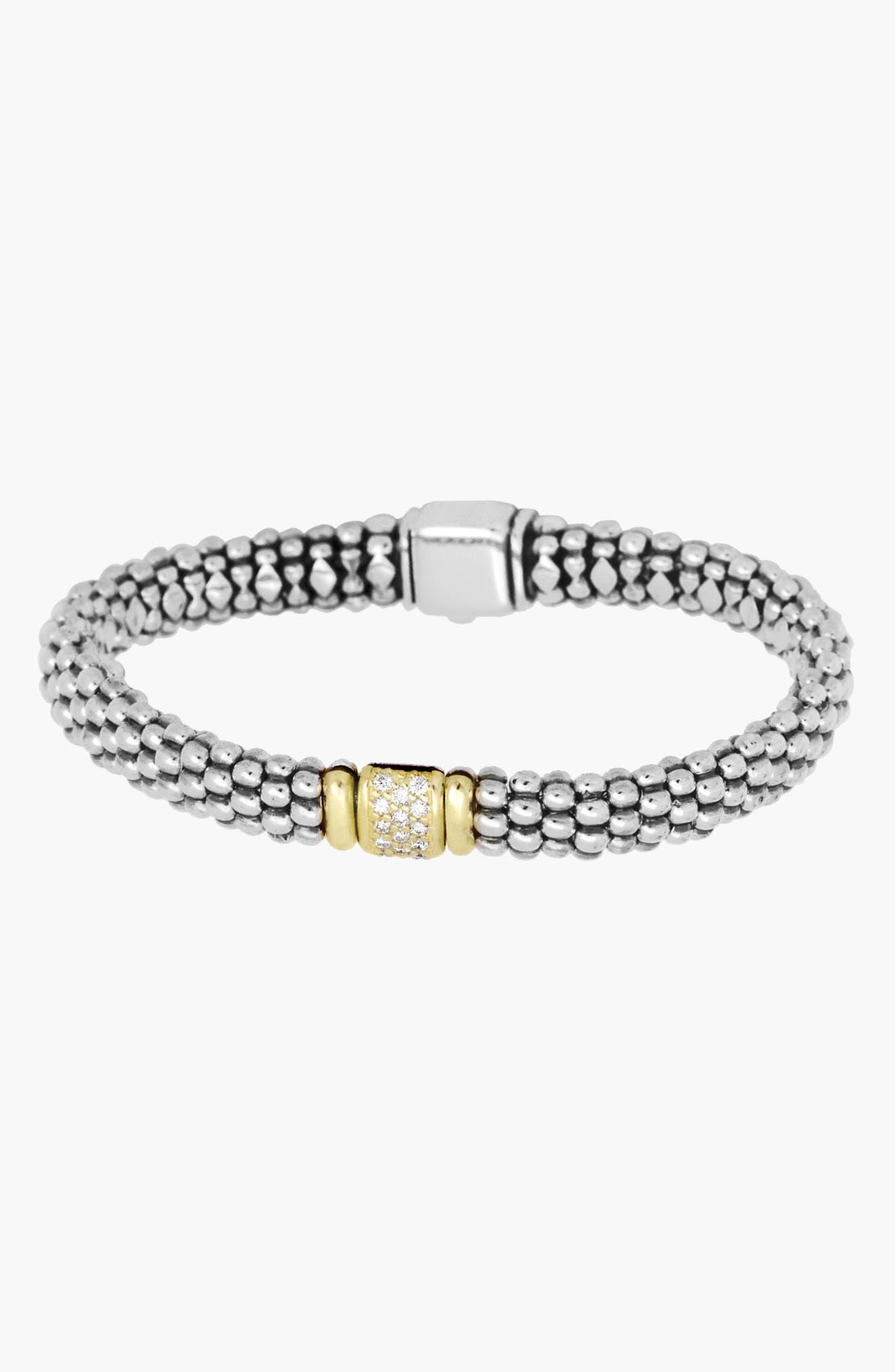 Caviar & Diamond Bracelet,                             Alternate thumbnail 4, color,                             STERLING SILVER/ GOLD
