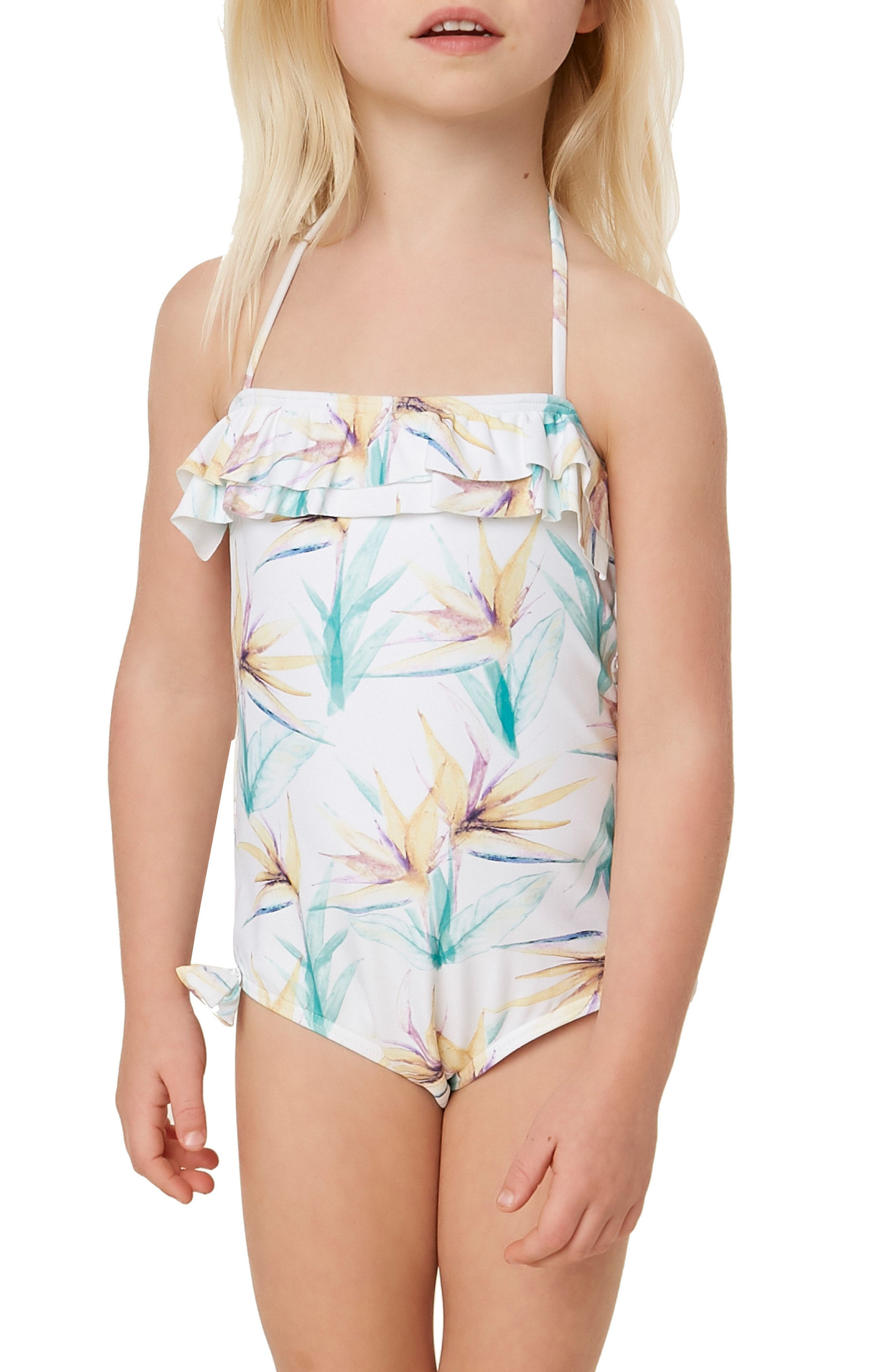 Paradise Ruffle One-Piece Swimsuit,                             Alternate thumbnail 2, color,                             100