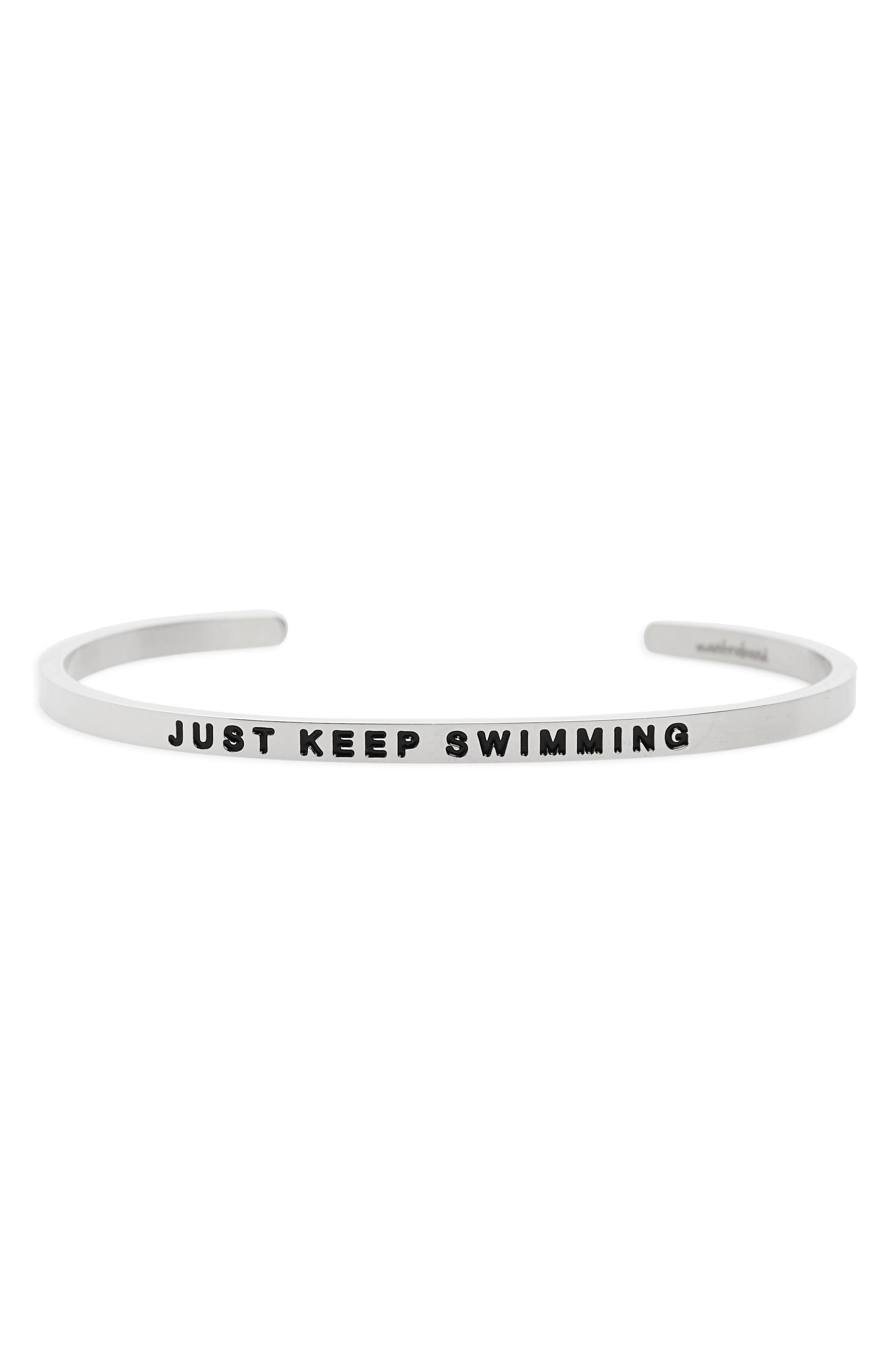 Just Keep Swimming Engraved Cuff,                             Main thumbnail 1, color,