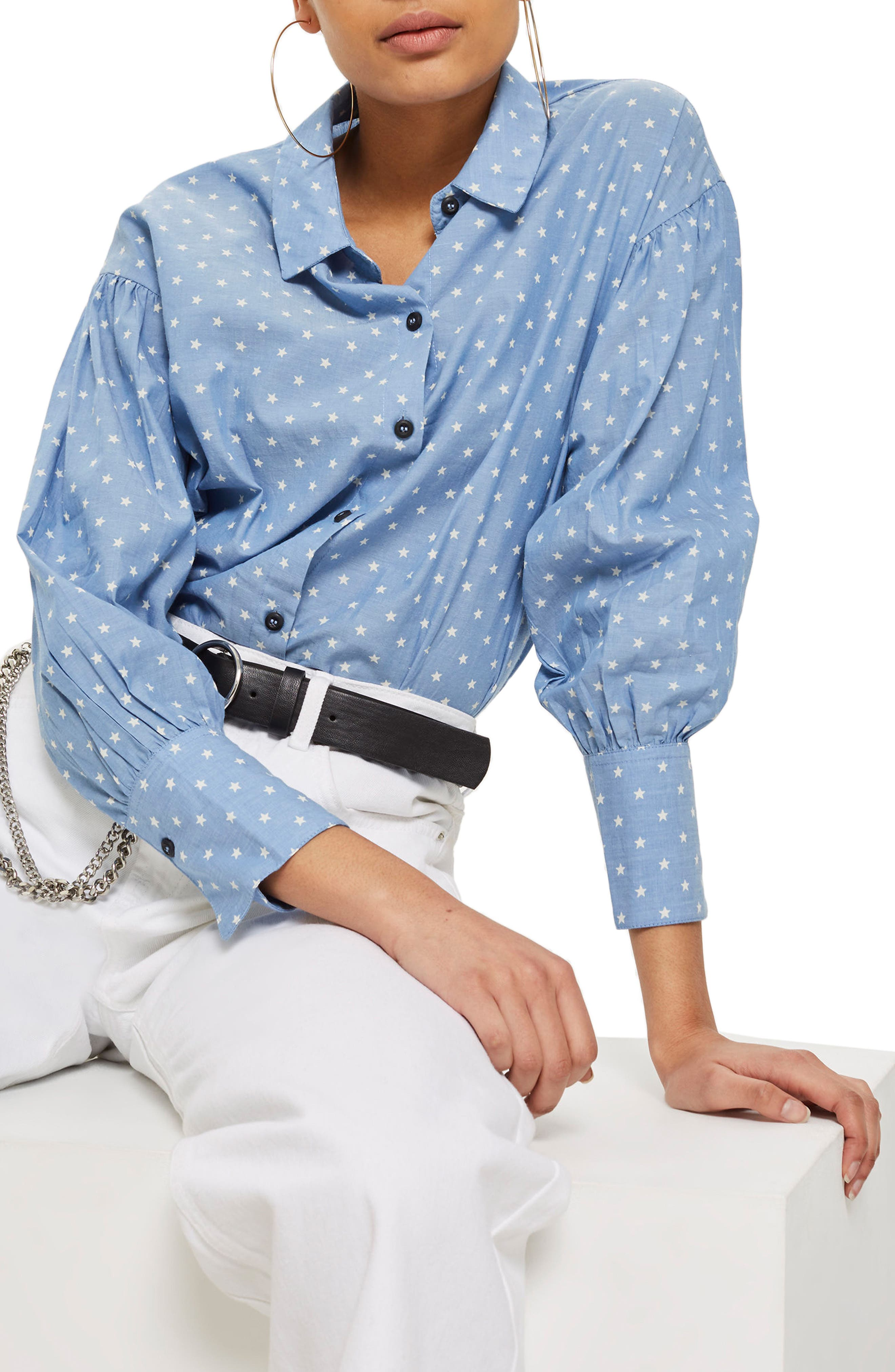 Star Print Chambray Shirt, Main, color, 400