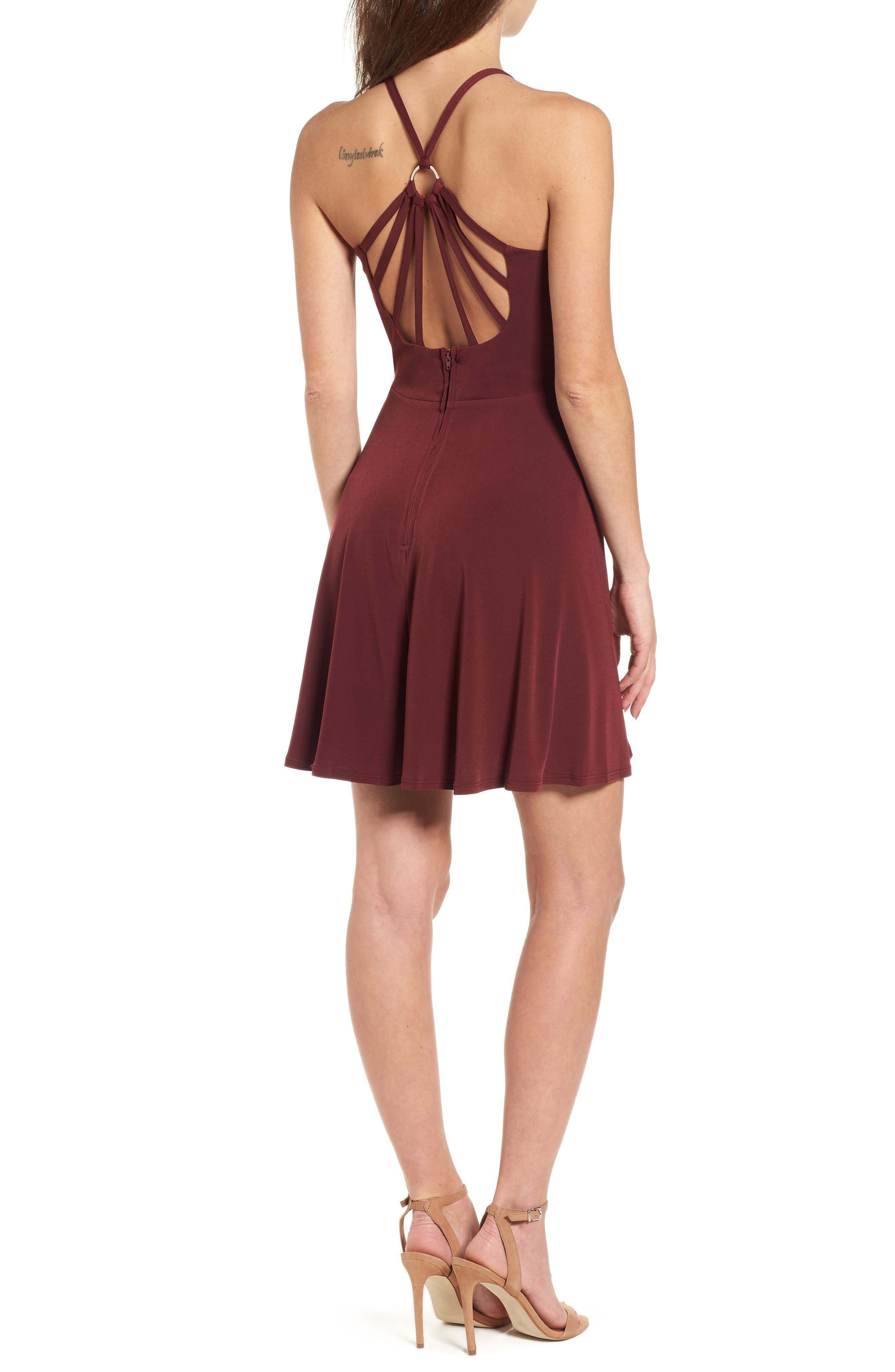 Crystal Halter Dress,                             Alternate thumbnail 2, color,                             WINE