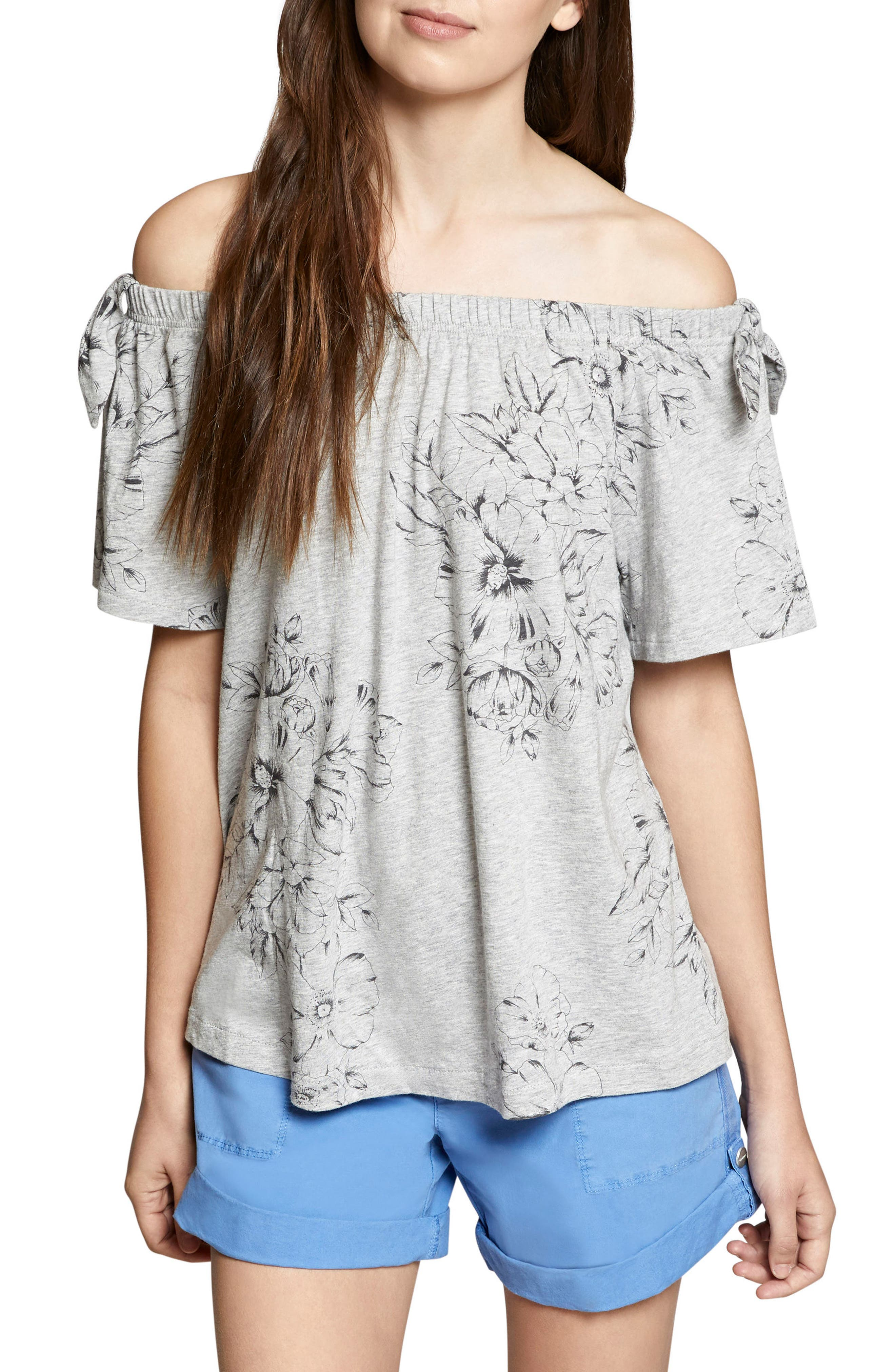Riviera Off the Shoulder Tie Sleeve Top,                             Main thumbnail 1, color,                             032