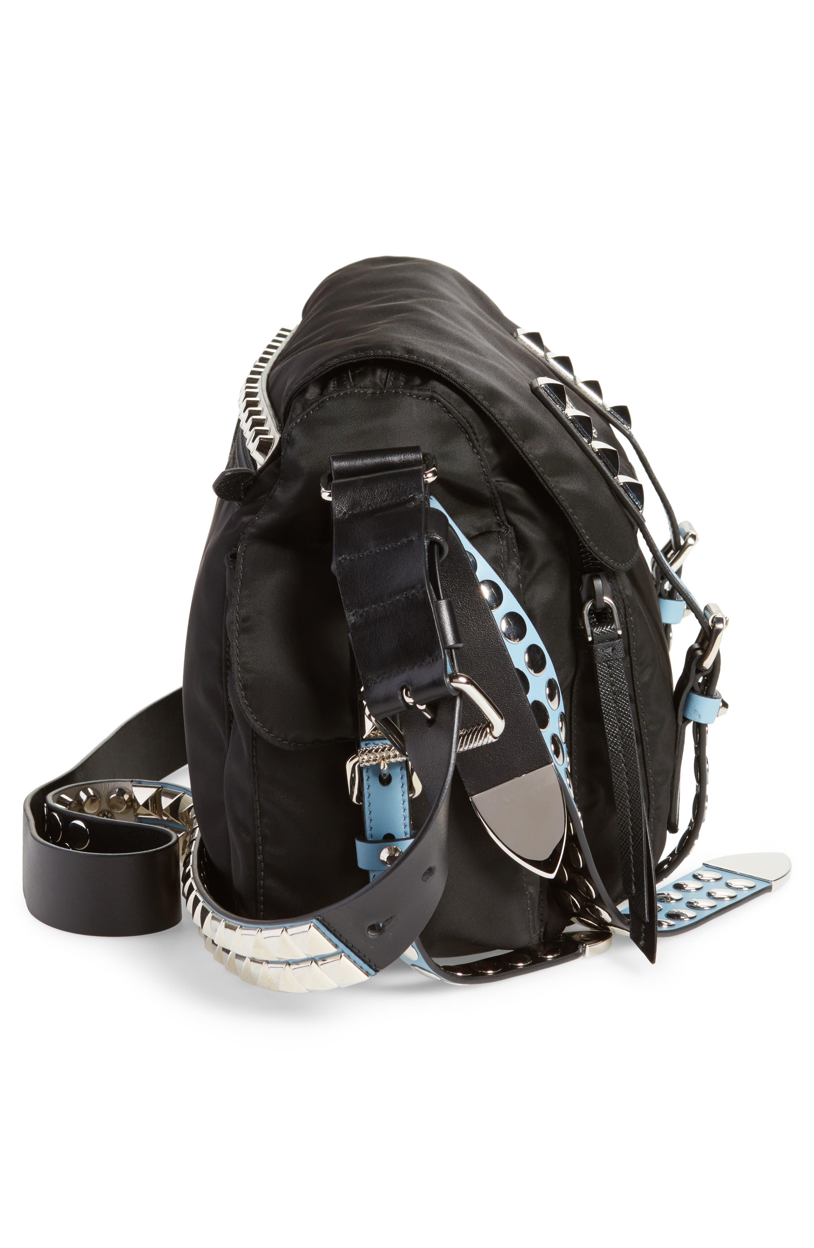 Studded Nylon Messenger Bag,                             Alternate thumbnail 5, color,                             NERO/ ASTRALE