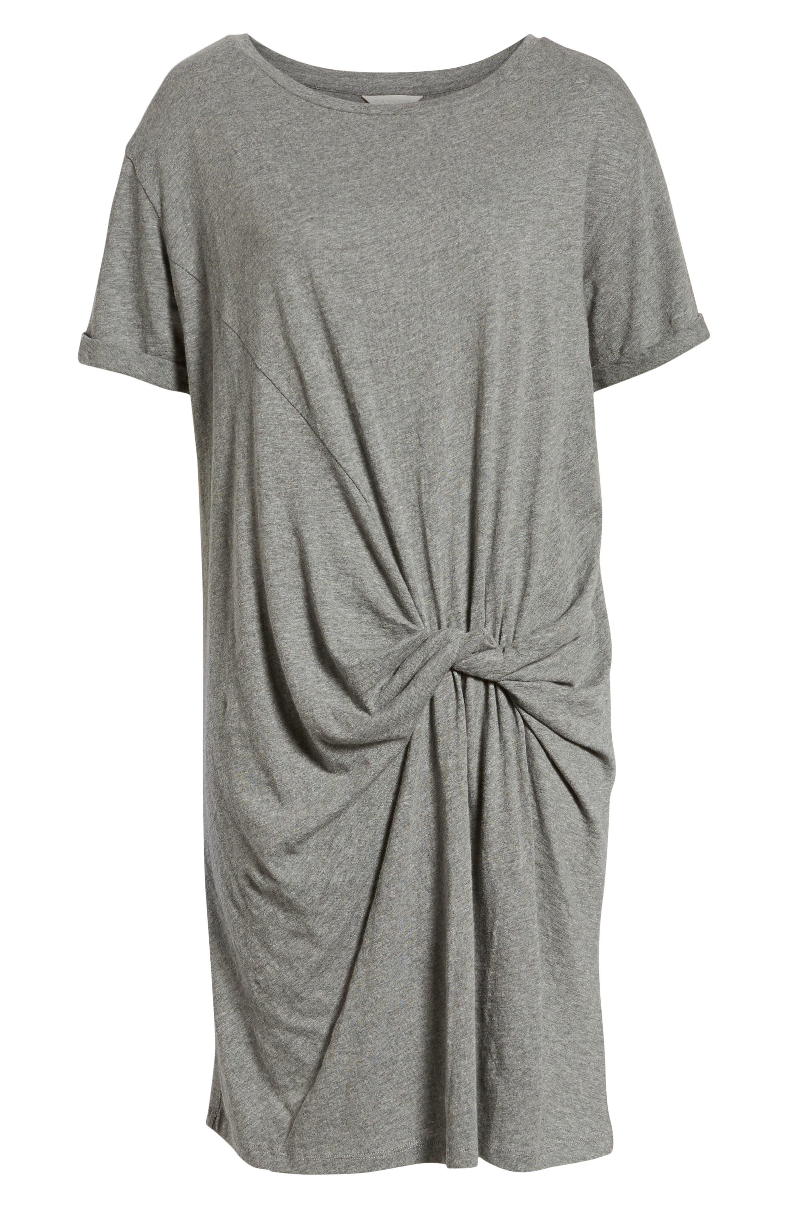 Knot Front T-Shirt Dress,                             Alternate thumbnail 7, color,                             GREY DARK HEATHER