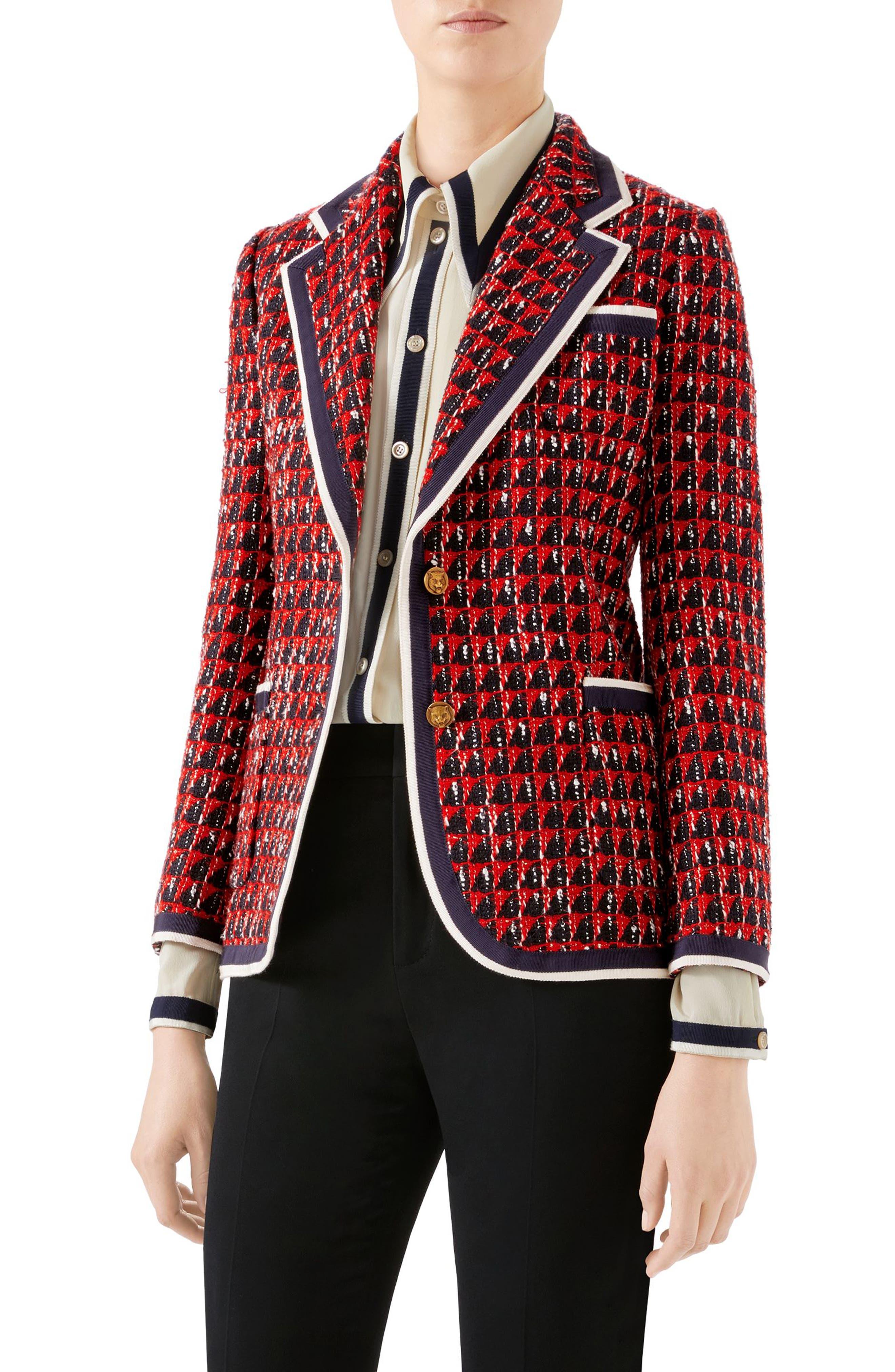 Geo Tweed Jacket, Main, color, 1880 BLACK/ RED/ WHITE