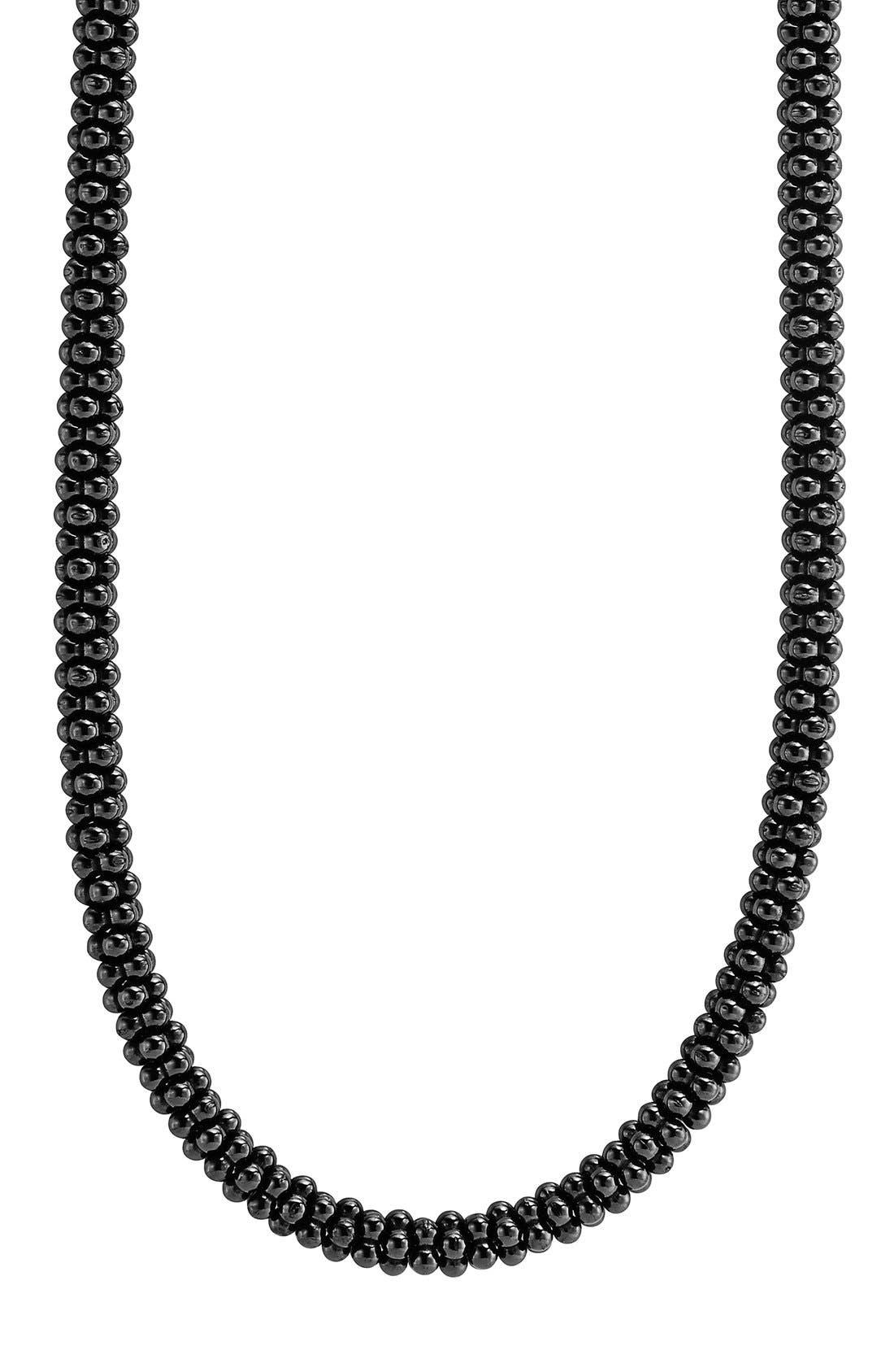 'Black Caviar' 5mm Beaded Necklace,                             Alternate thumbnail 3, color,                             BLACK CAVIAR