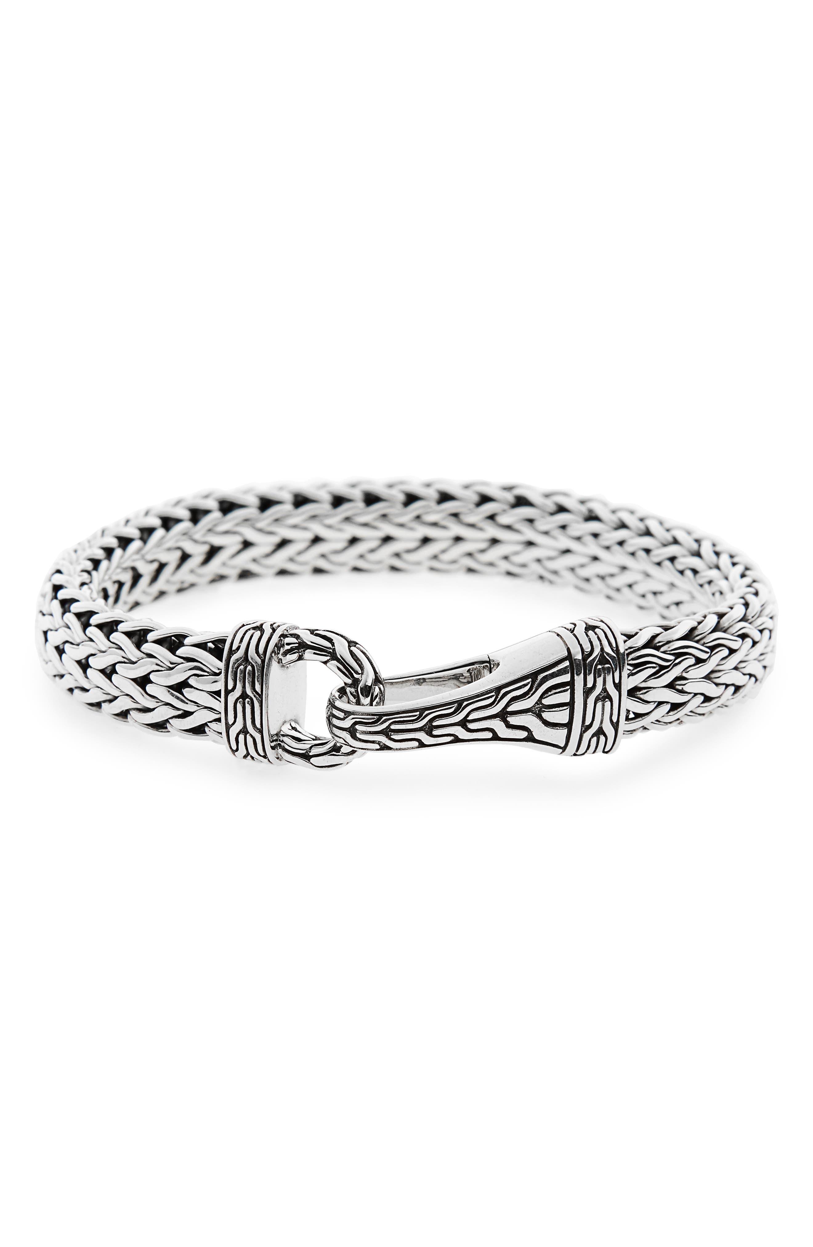 Classic Chain Silver Hook Bracelet,                             Main thumbnail 1, color,                             SILVER