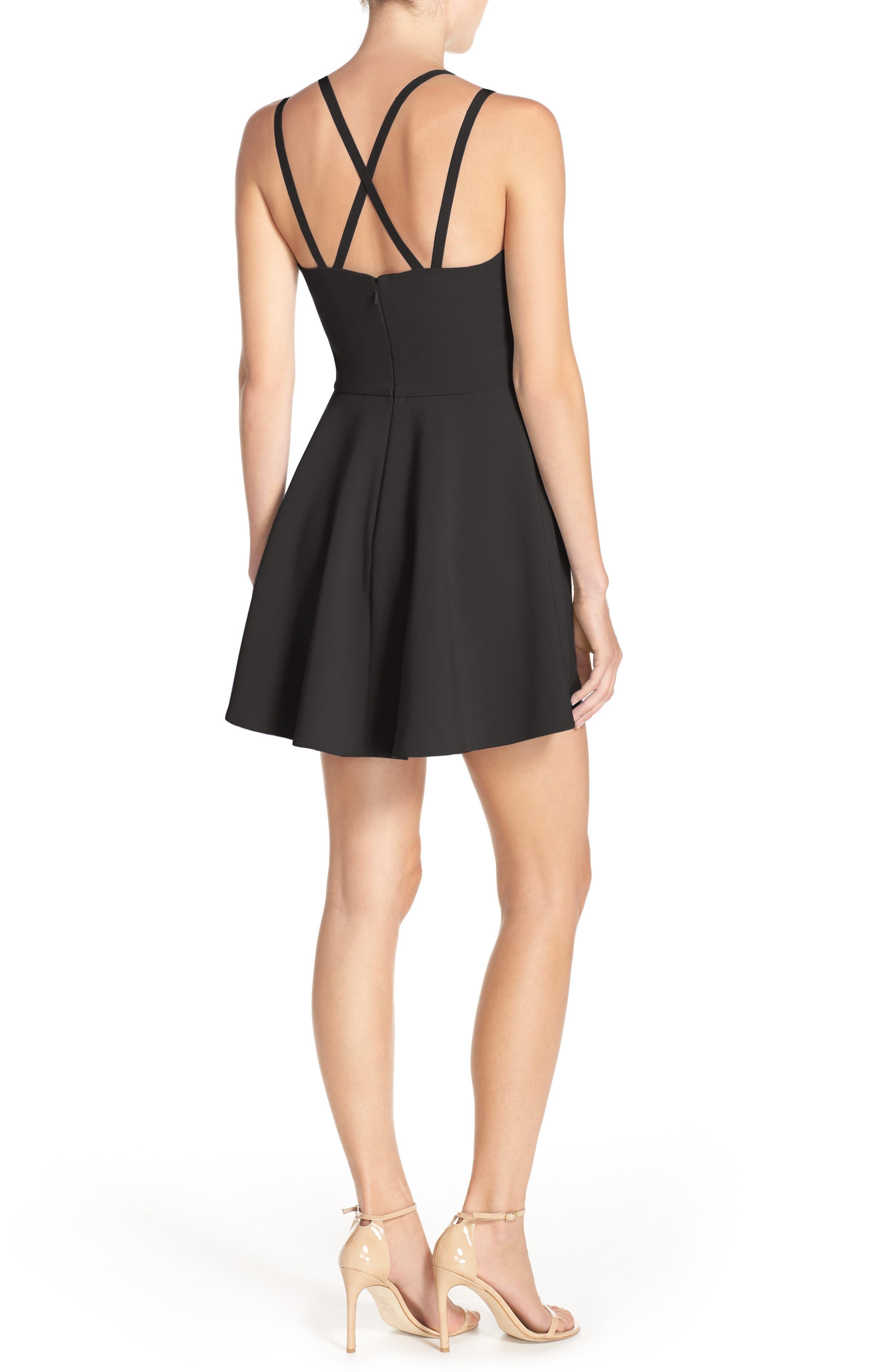 Whisper Light Fit & Flare Dress,                             Alternate thumbnail 12, color,                             BLACK