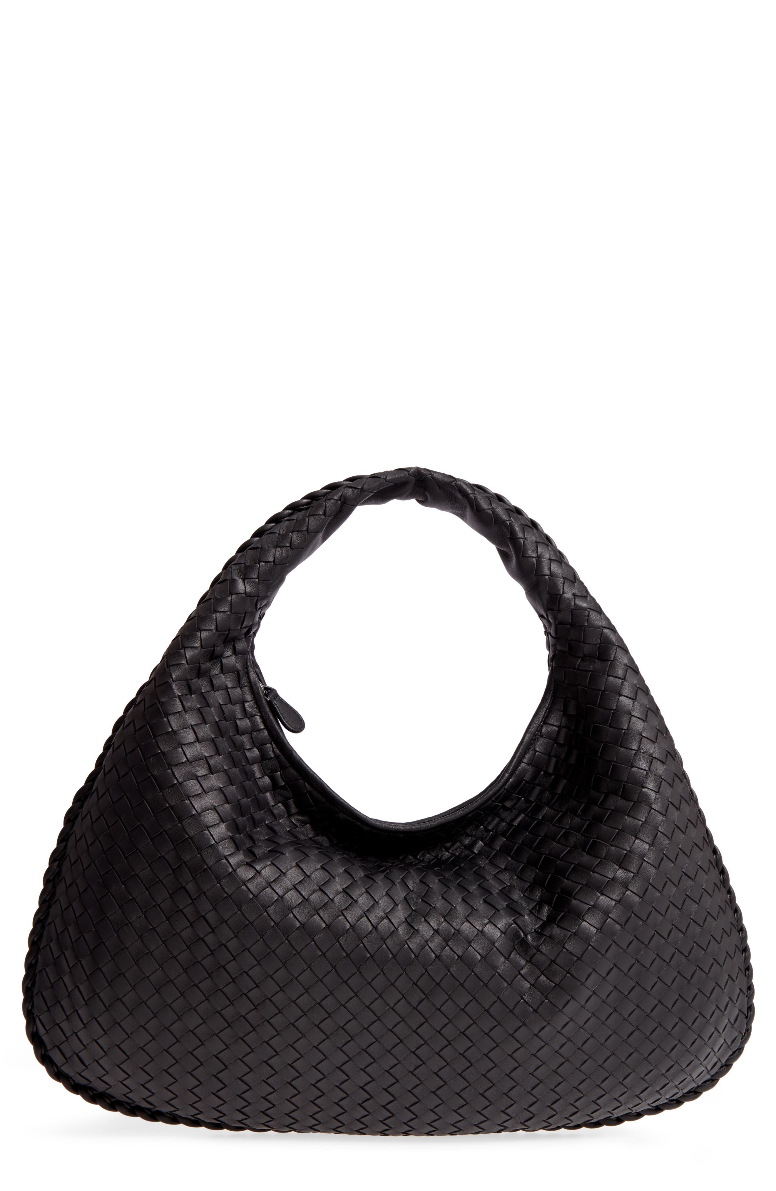 Large Veneta Leather Hobo,                         Main,                         color, 8175 NERO