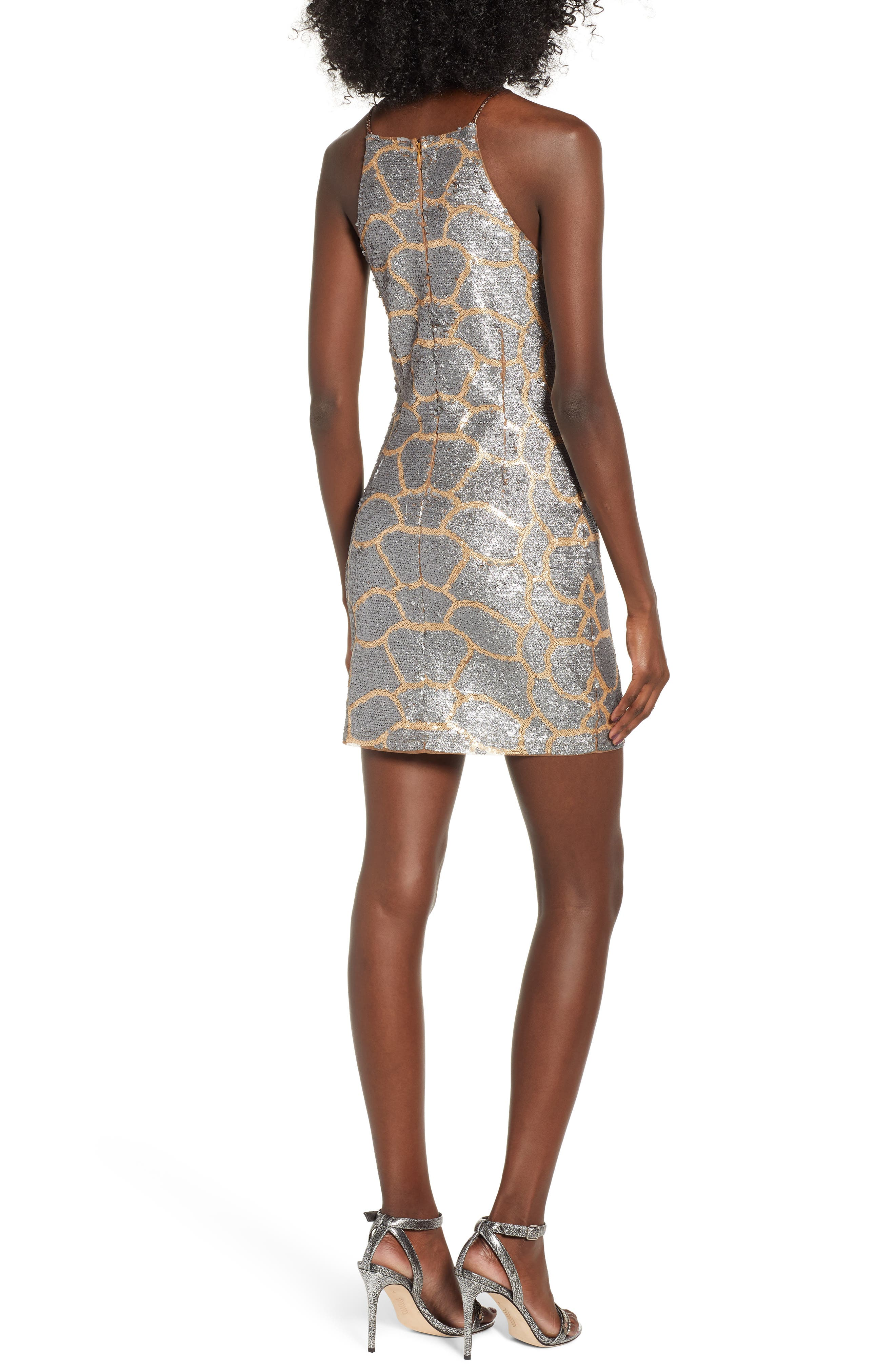 Sequin Minidress,                             Alternate thumbnail 2, color,                             GOLD/ SILVER