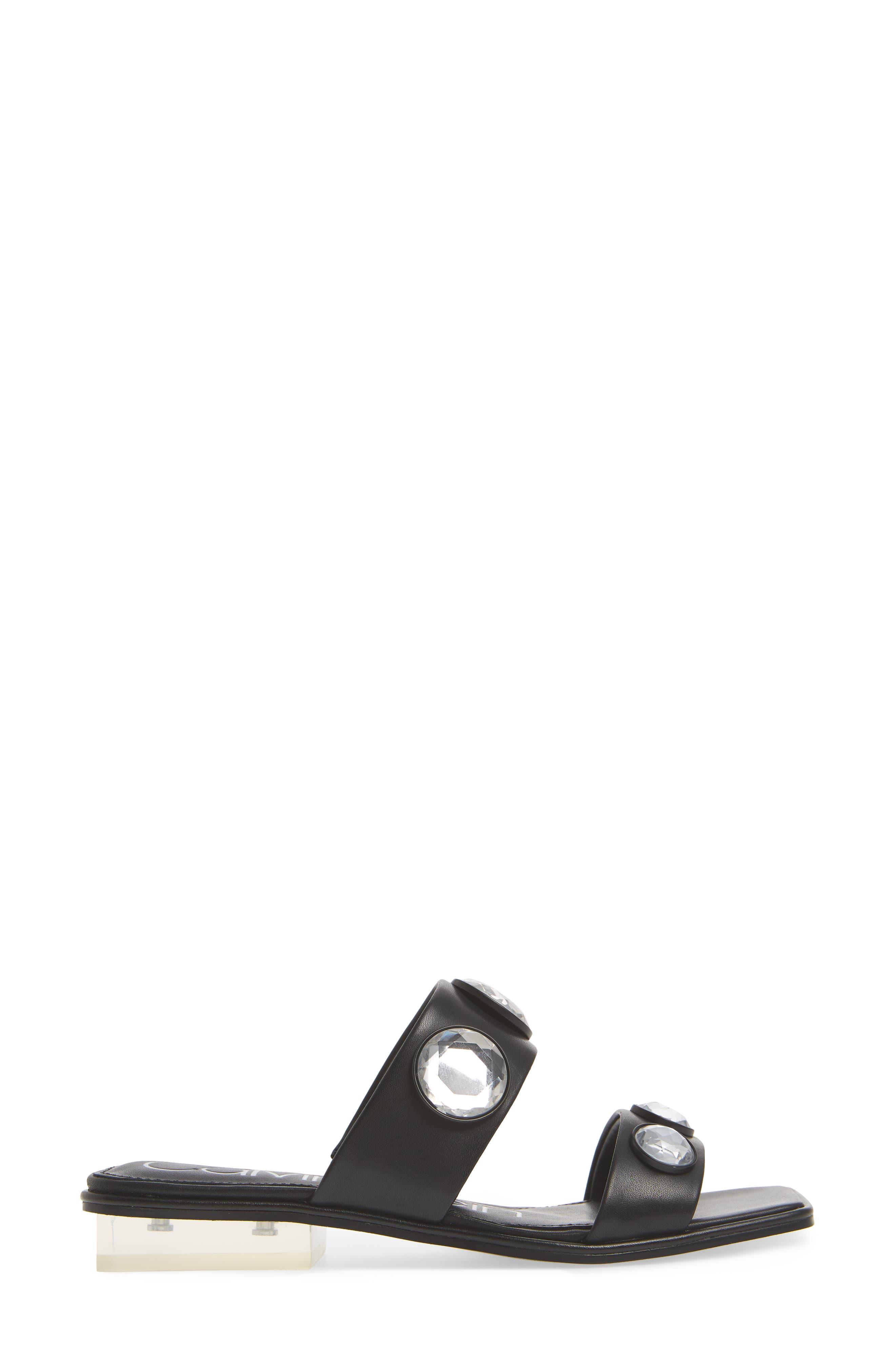 Kace Crystal Embellished Slide Sandal,                             Alternate thumbnail 3, color,                             001