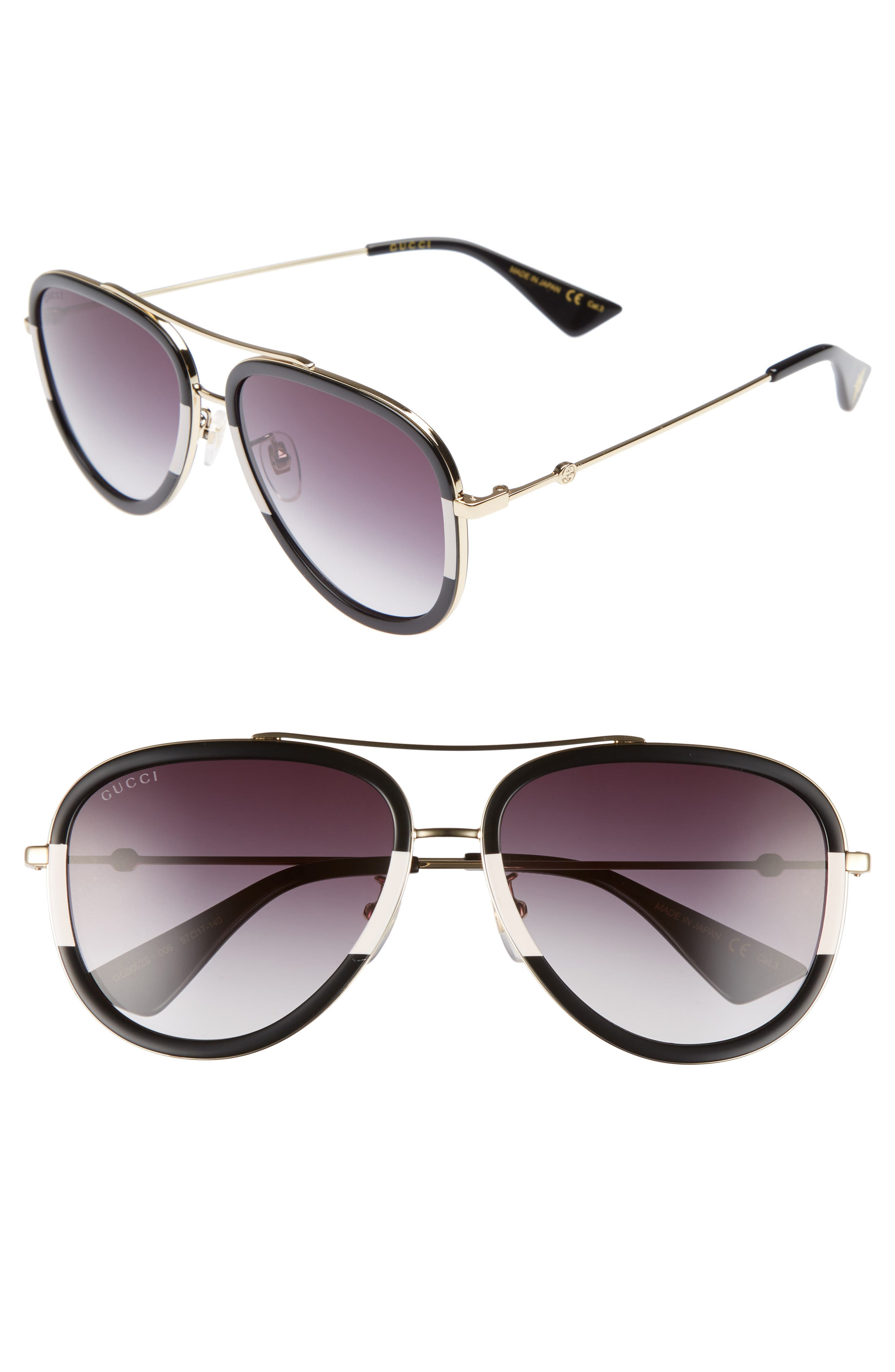 Web Block 57mm Leather Aviator Sunglasses,                             Main thumbnail 1, color,                             715