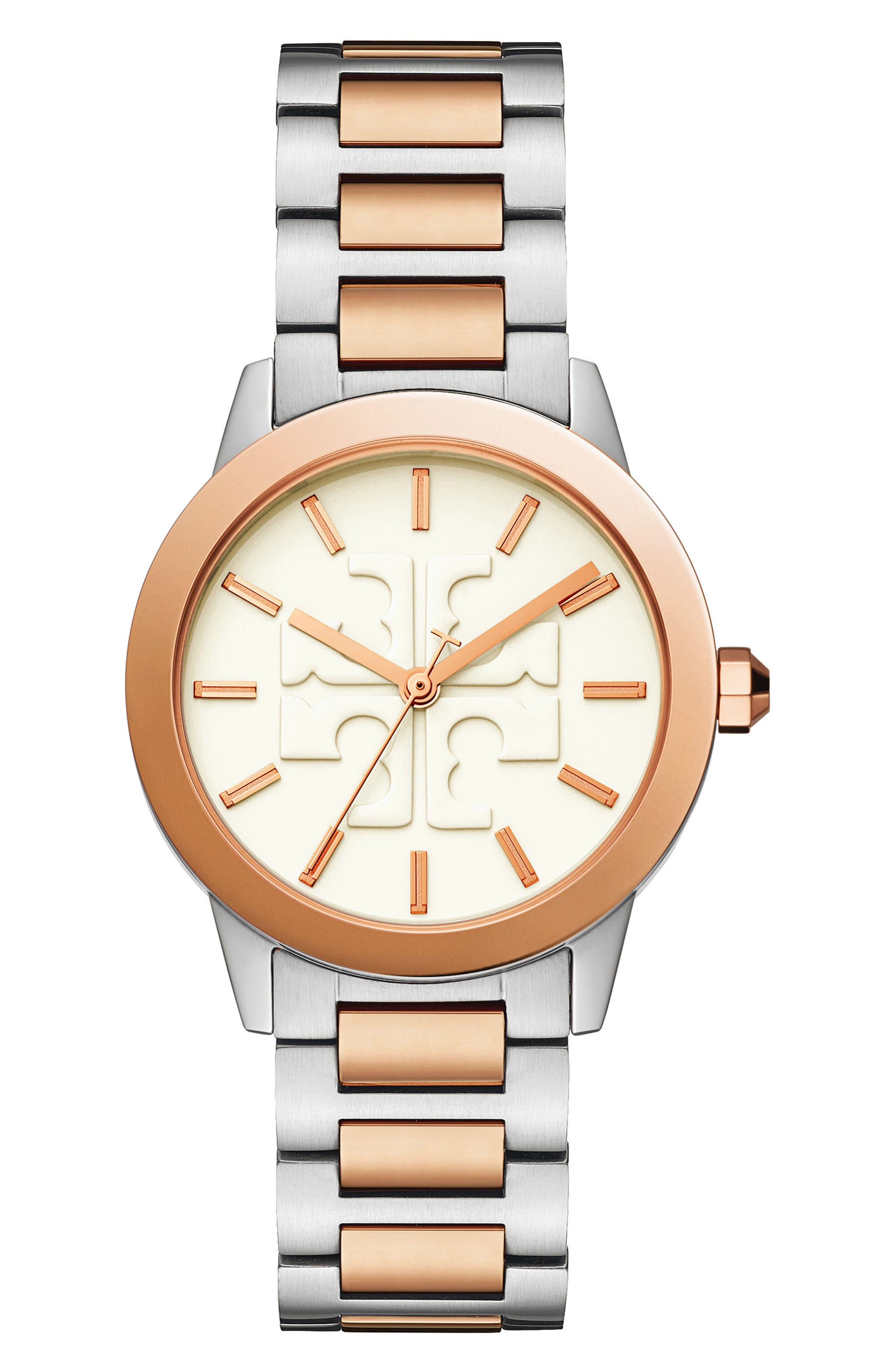 Gigi Bracelet Watch, 36mm,                         Main,                         color, SILVER/ CREAM/ ROSE GOLD