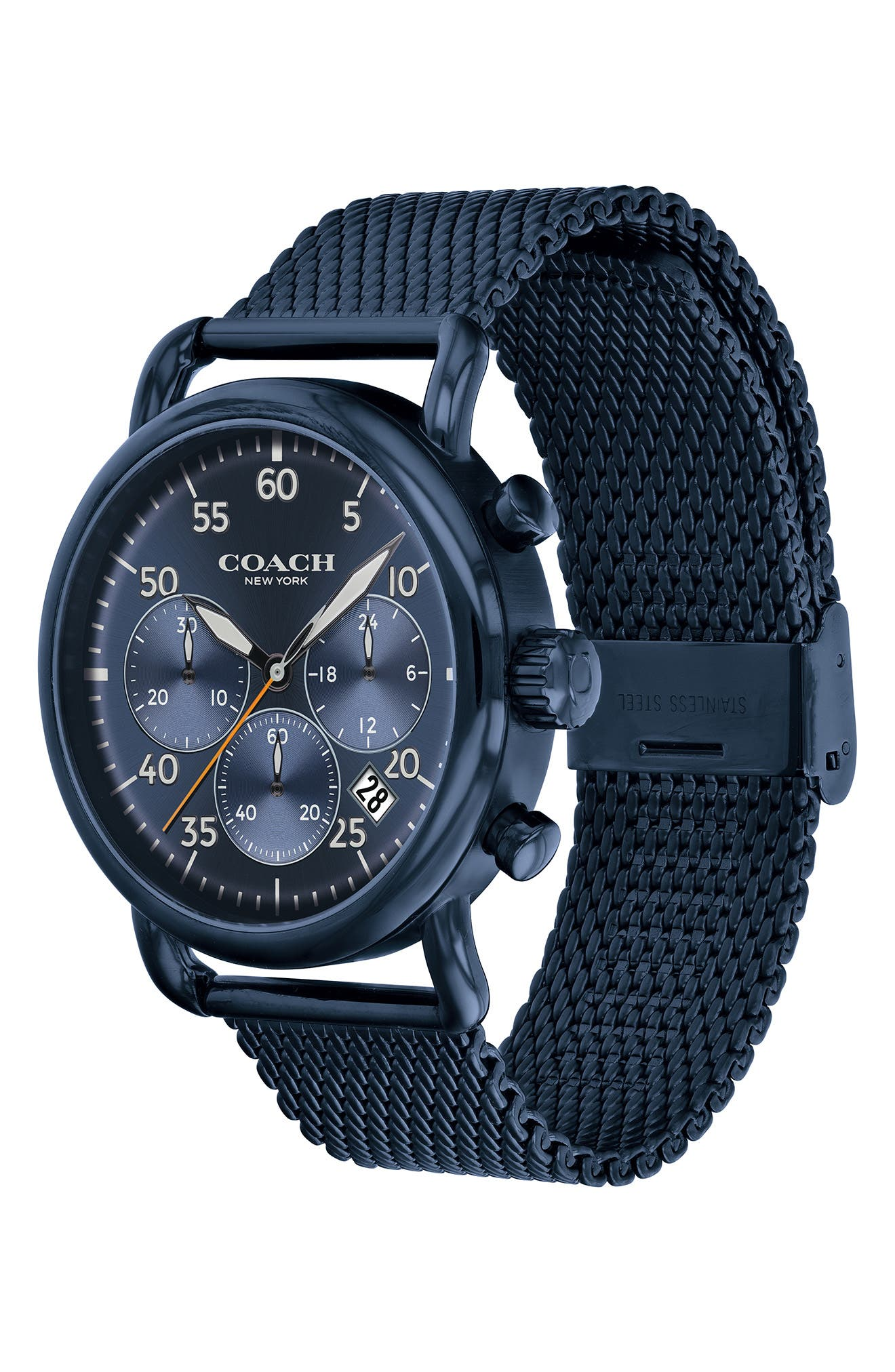 Delancey Sport Chronograph Mesh Strap Watch, 42mm,                             Alternate thumbnail 3, color,                             BLUE