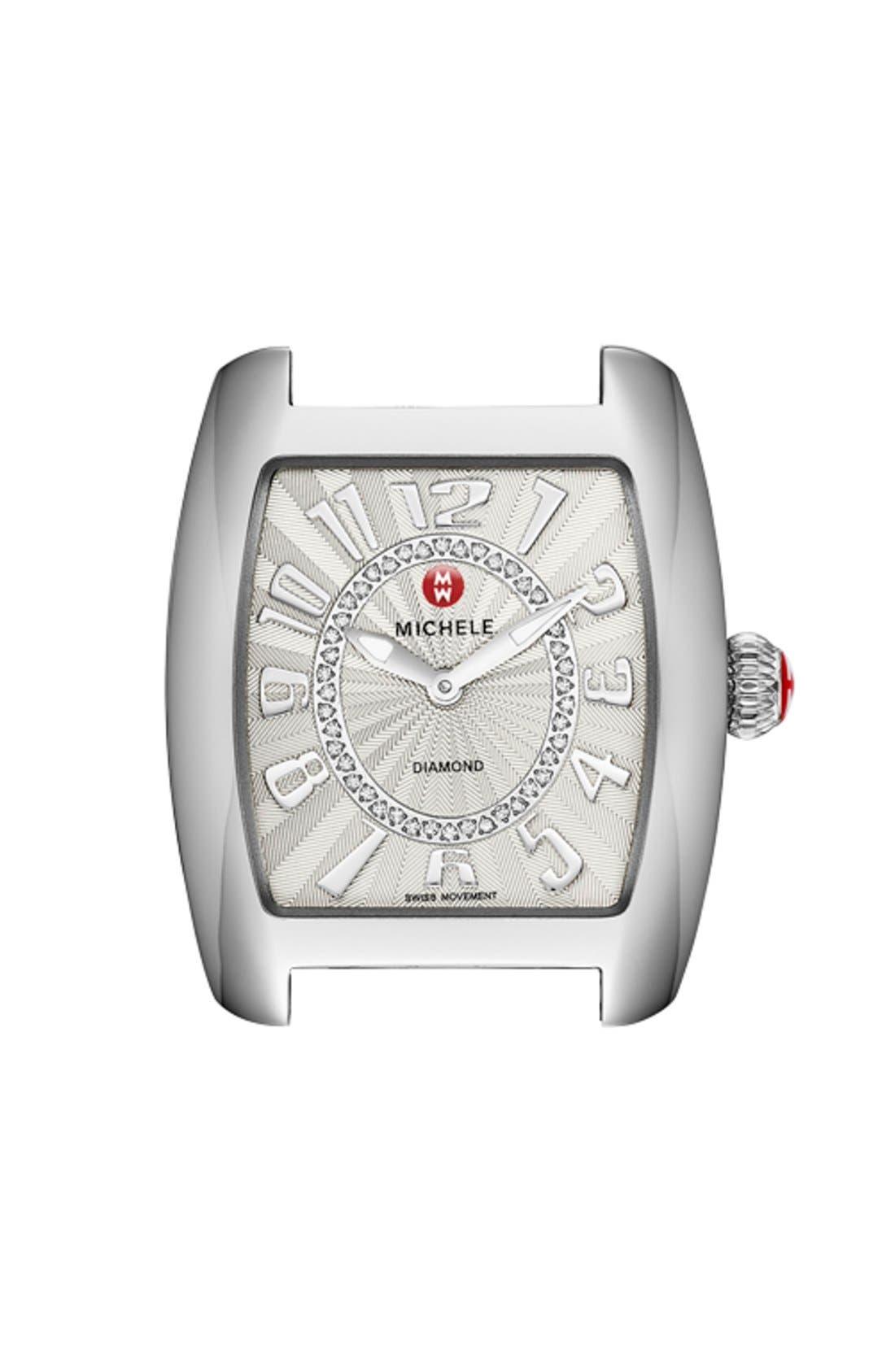 Urban Mini Diamond Dial Watch Case, 29mm x 30mm,                             Main thumbnail 1, color,                             SILVER/ SILVER