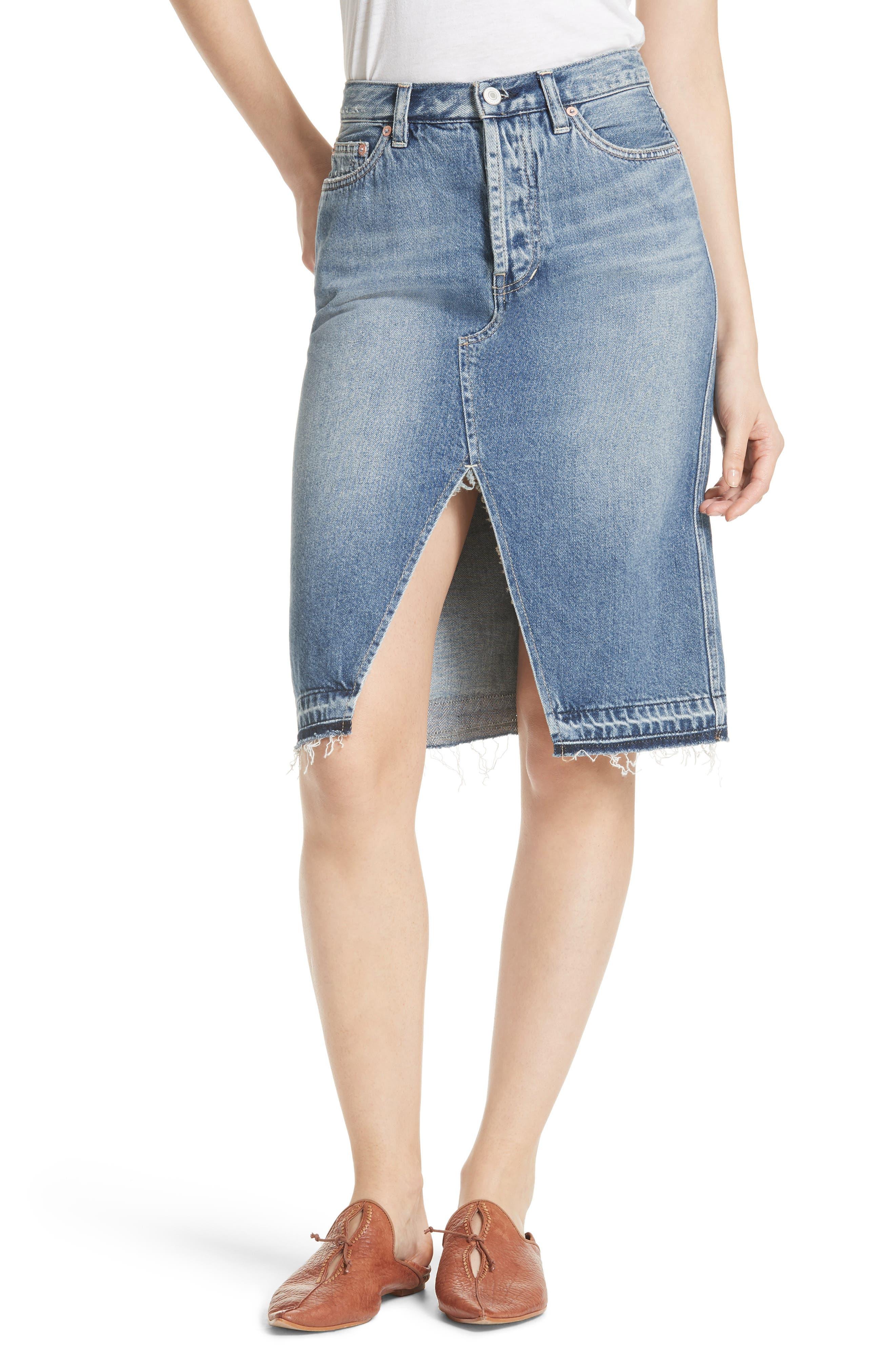 Front Slit Denim Skirt,                             Main thumbnail 1, color,                             400