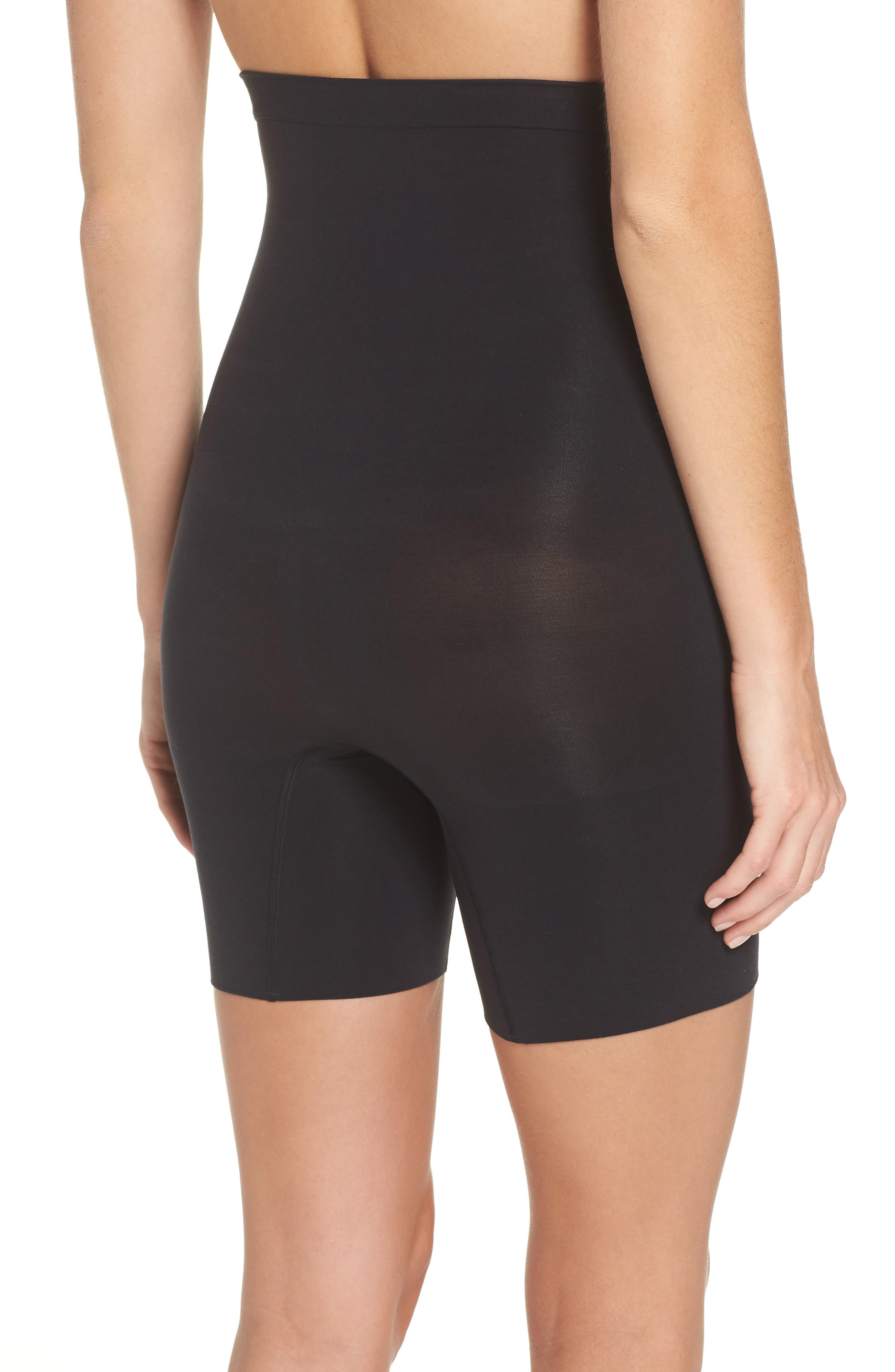 SPANX<SUP>®</SUP>,                             Higher Power Mid-Thigh Shaping Shorts,                             Alternate thumbnail 2, color,                             VERY BLACK