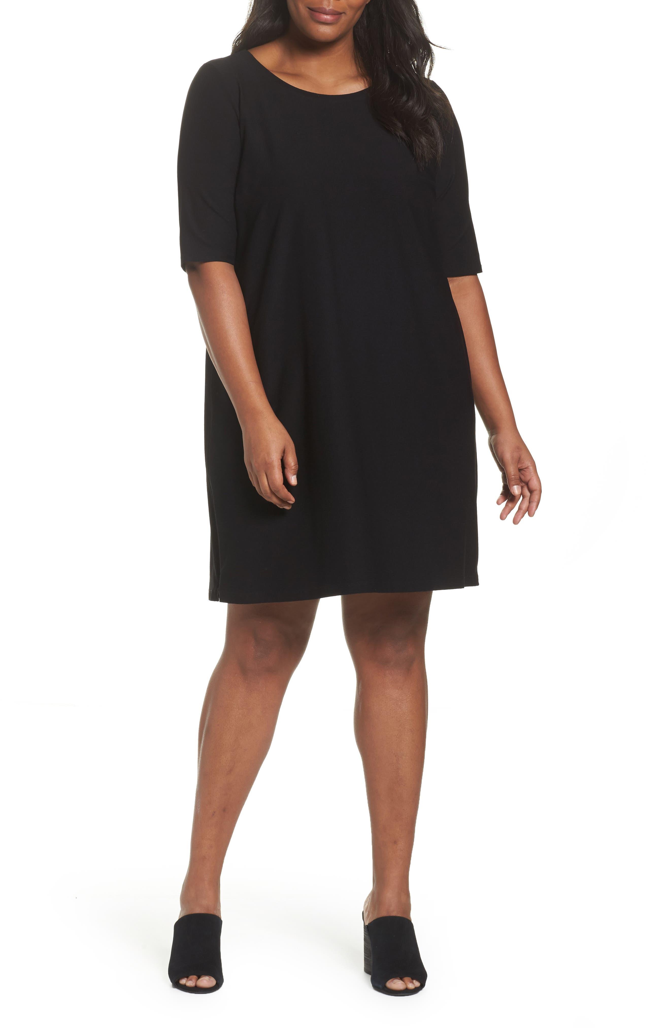Side Zip Knit Shift Dress,                             Main thumbnail 1, color,                             001