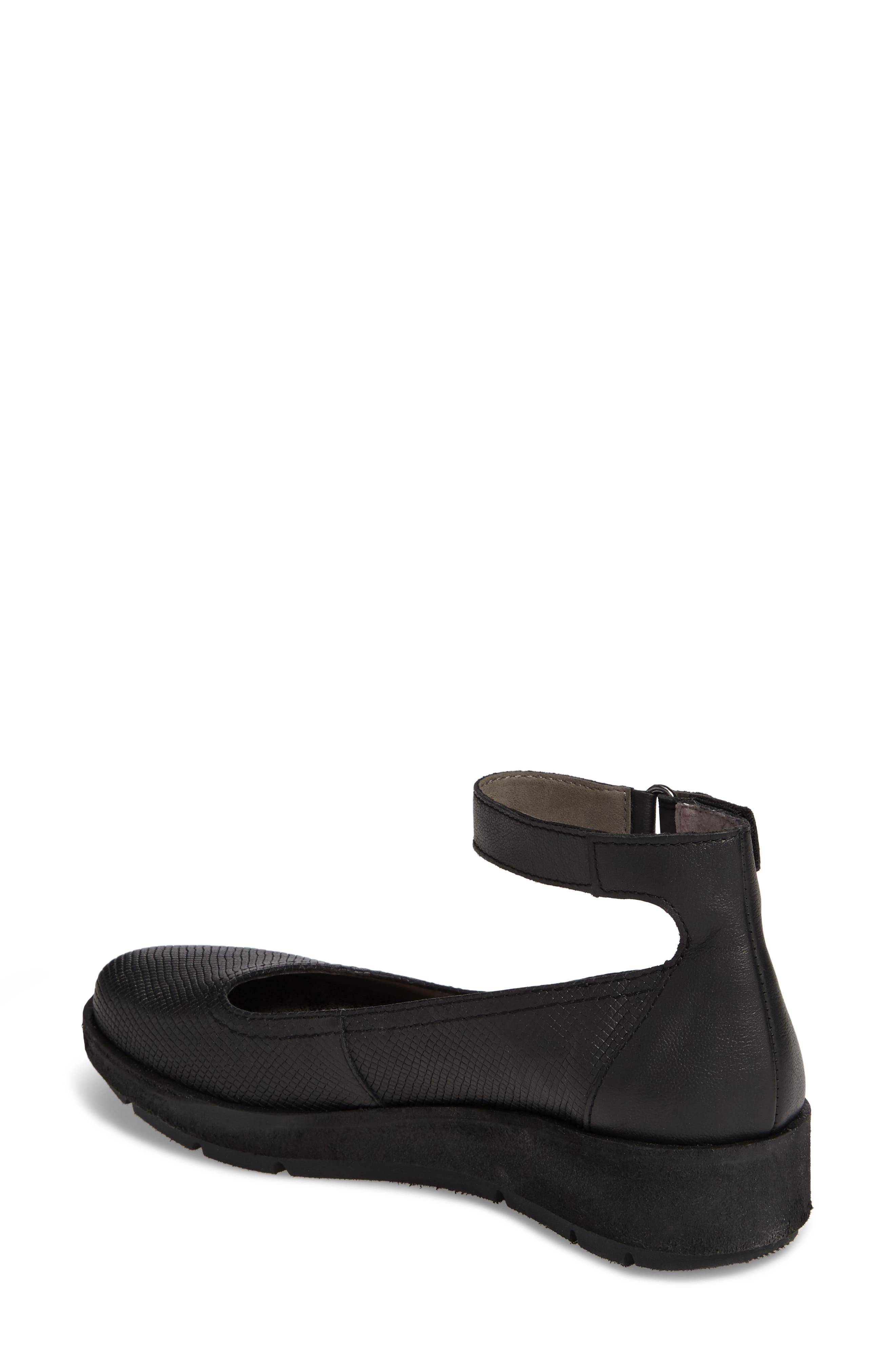Scamper Ankle Strap Wedge,                             Alternate thumbnail 2, color,                             BLACK LEATHER