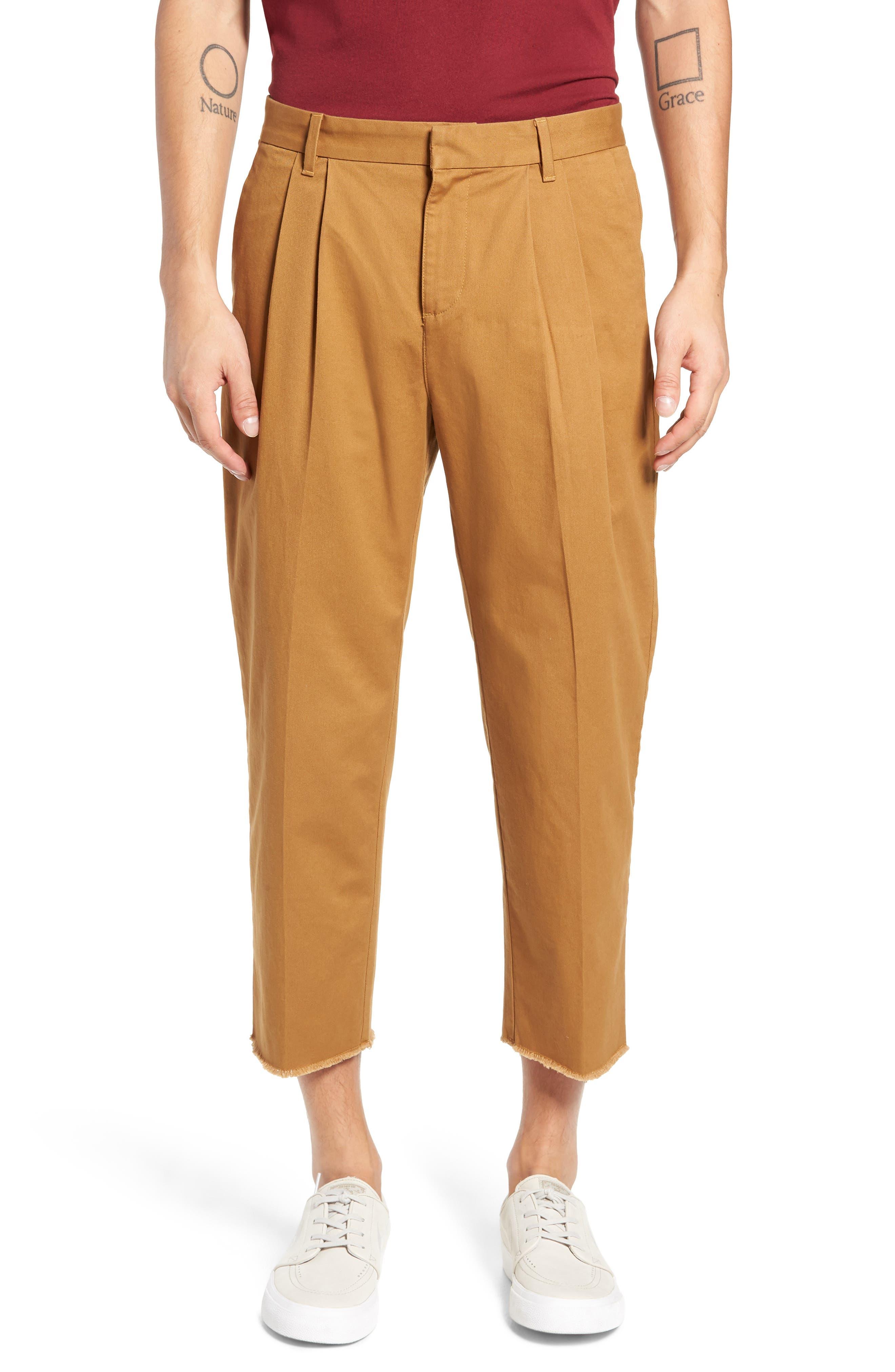 Pleated Crop Pants,                             Main thumbnail 1, color,                             BROWN DIJON