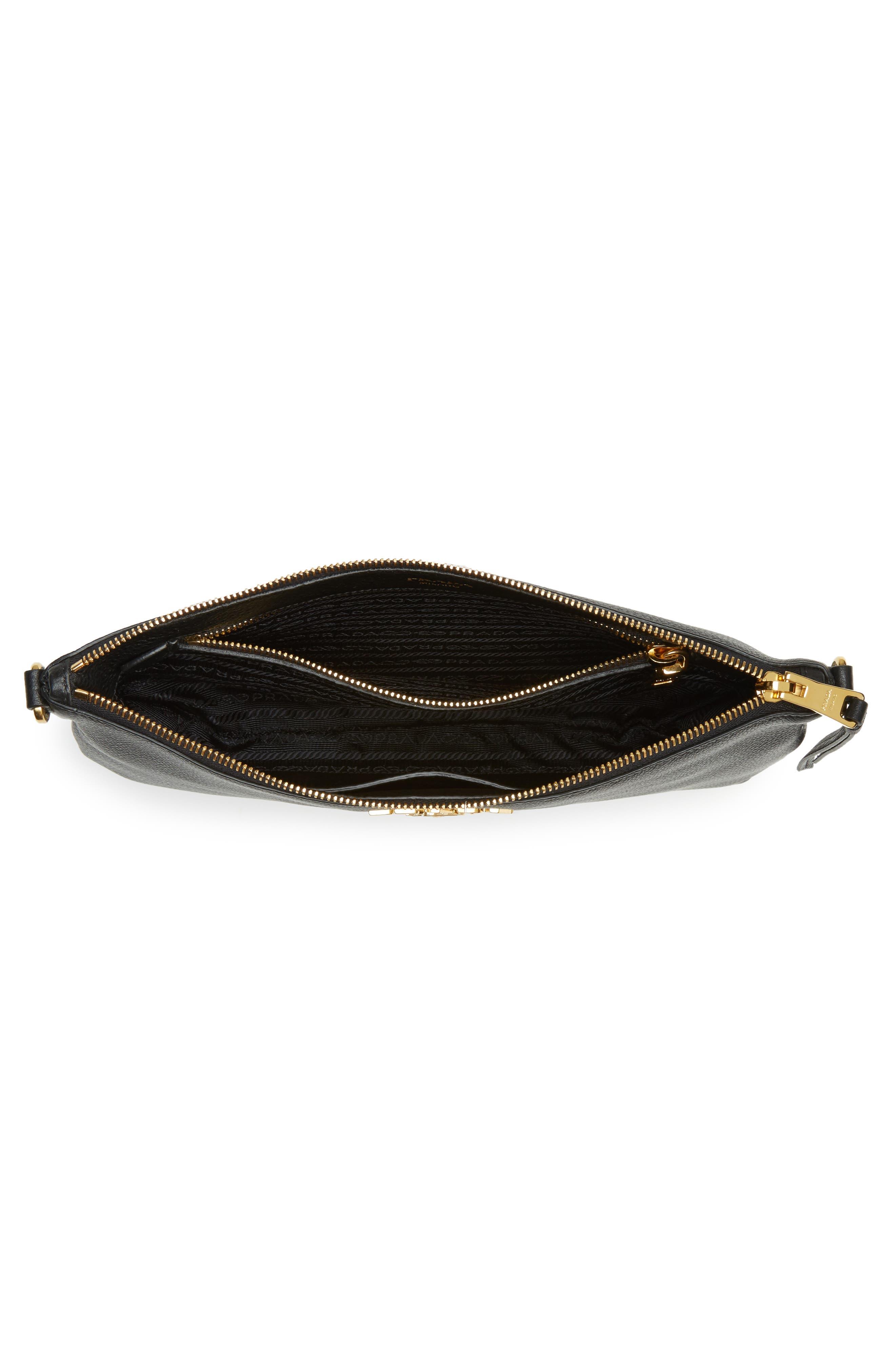 Vitello Daino Leather Crossbody Bag,                             Alternate thumbnail 5, color,                             001