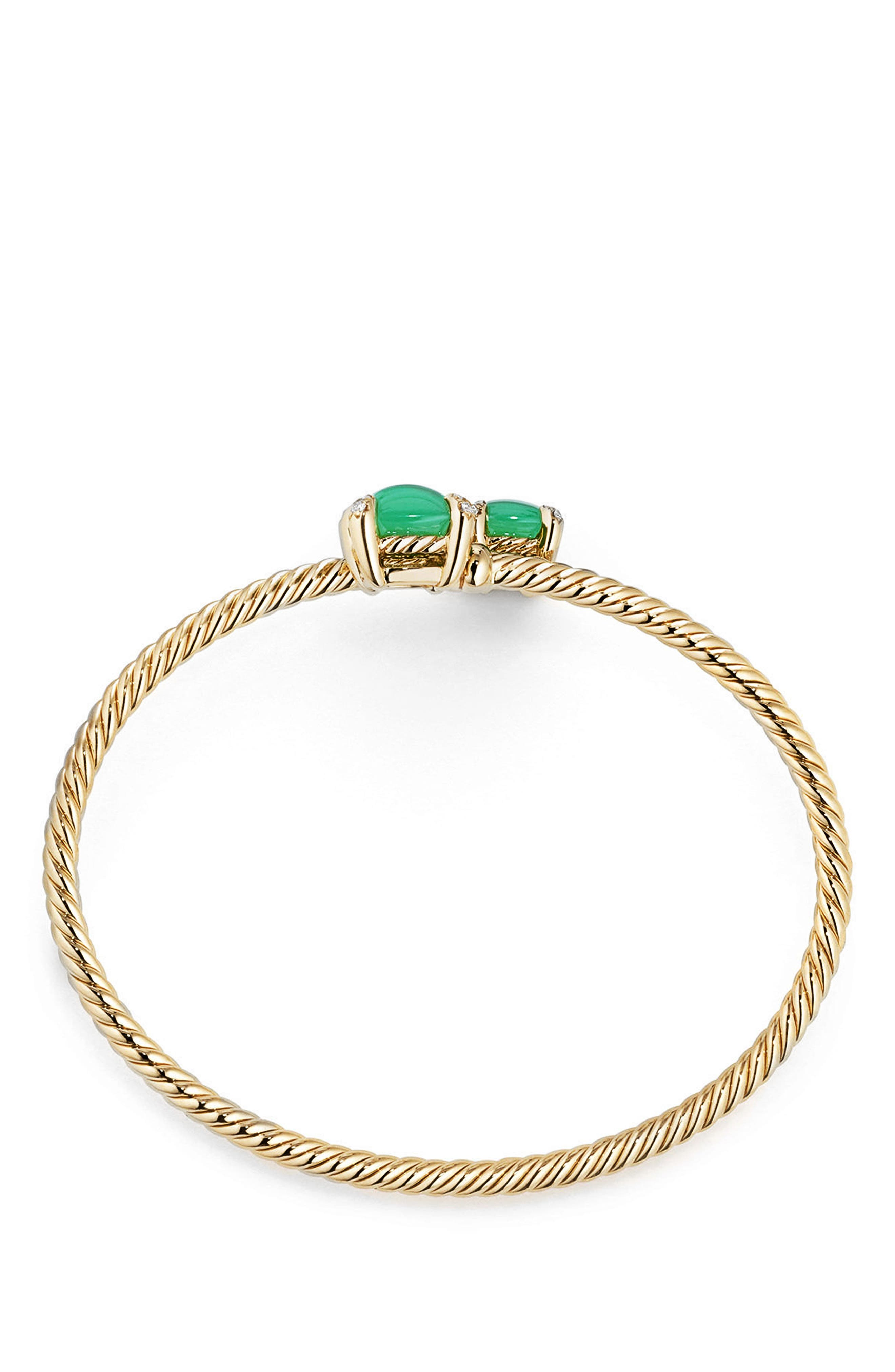 Châtelaine Bypass Bracelet with Semiprecious Stone & Diamonds in 18K Gold,                             Alternate thumbnail 2, color,                             CHRYSOPRASE