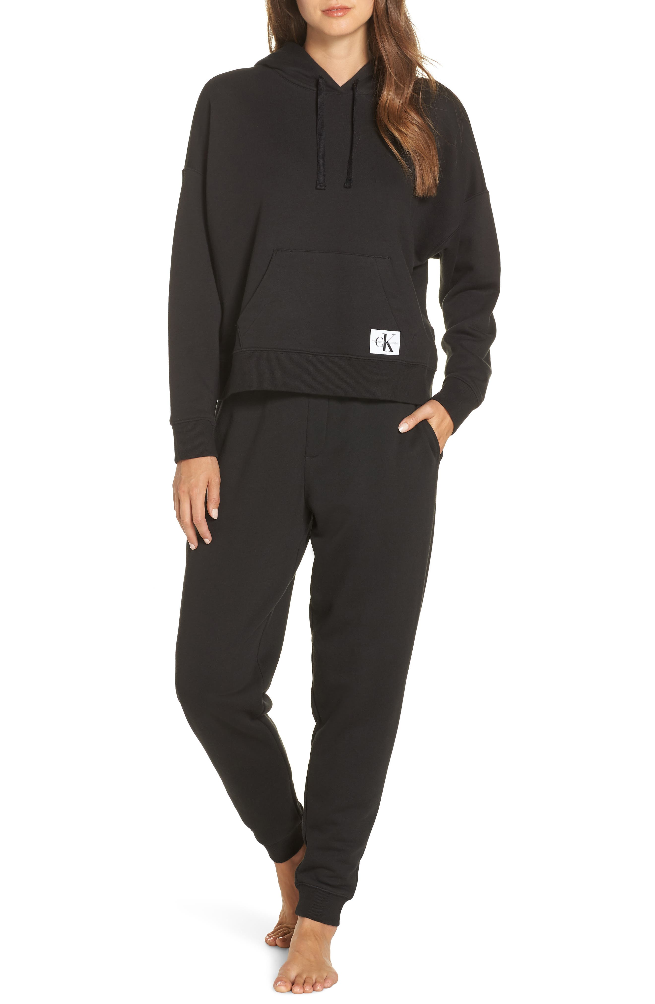 CALVIN KLEIN,                             Monogram Lounge Hoodie,                             Alternate thumbnail 7, color,                             001