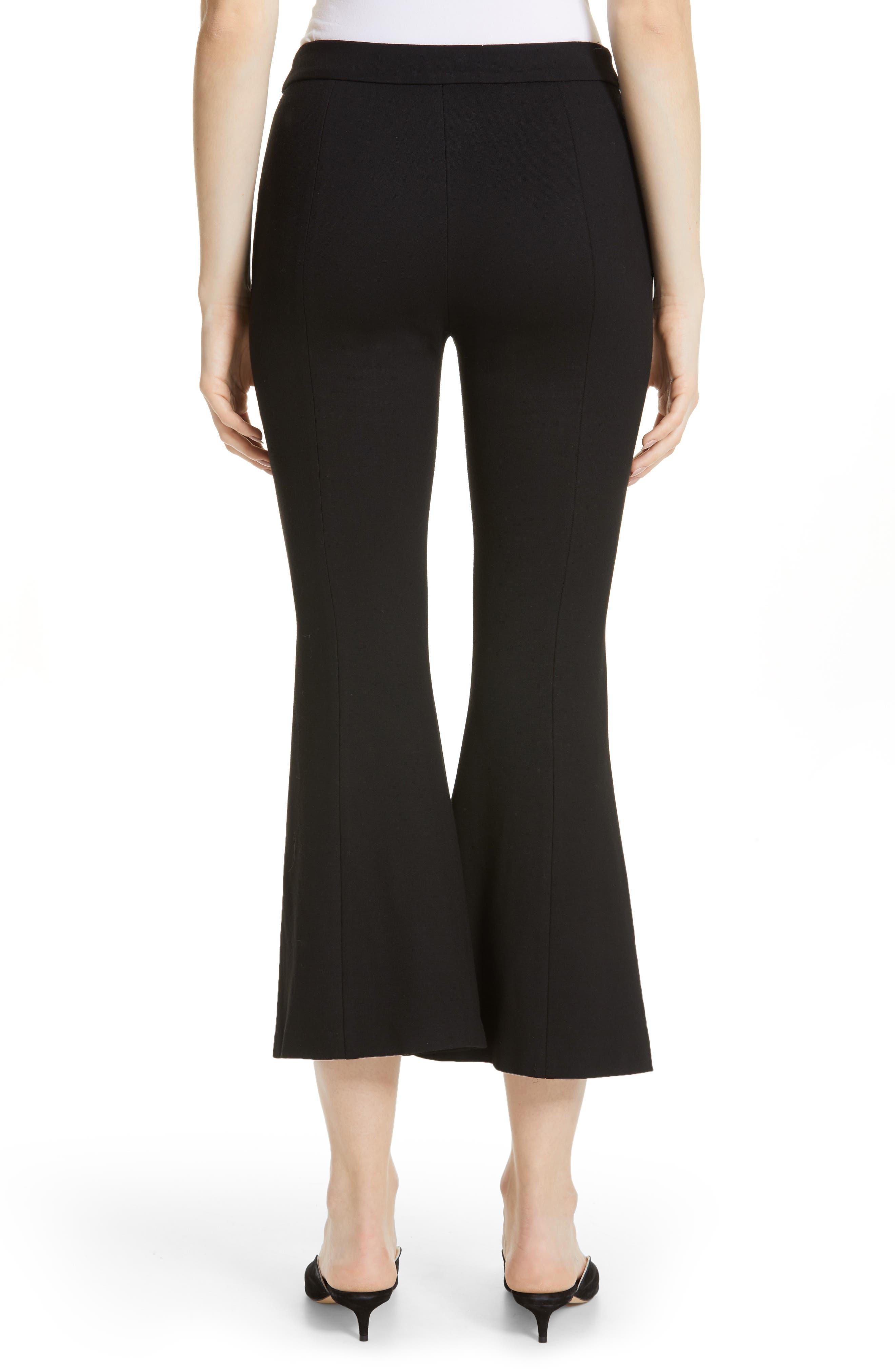 Crop Flare Jersey Pants,                             Alternate thumbnail 2, color,                             BLACK