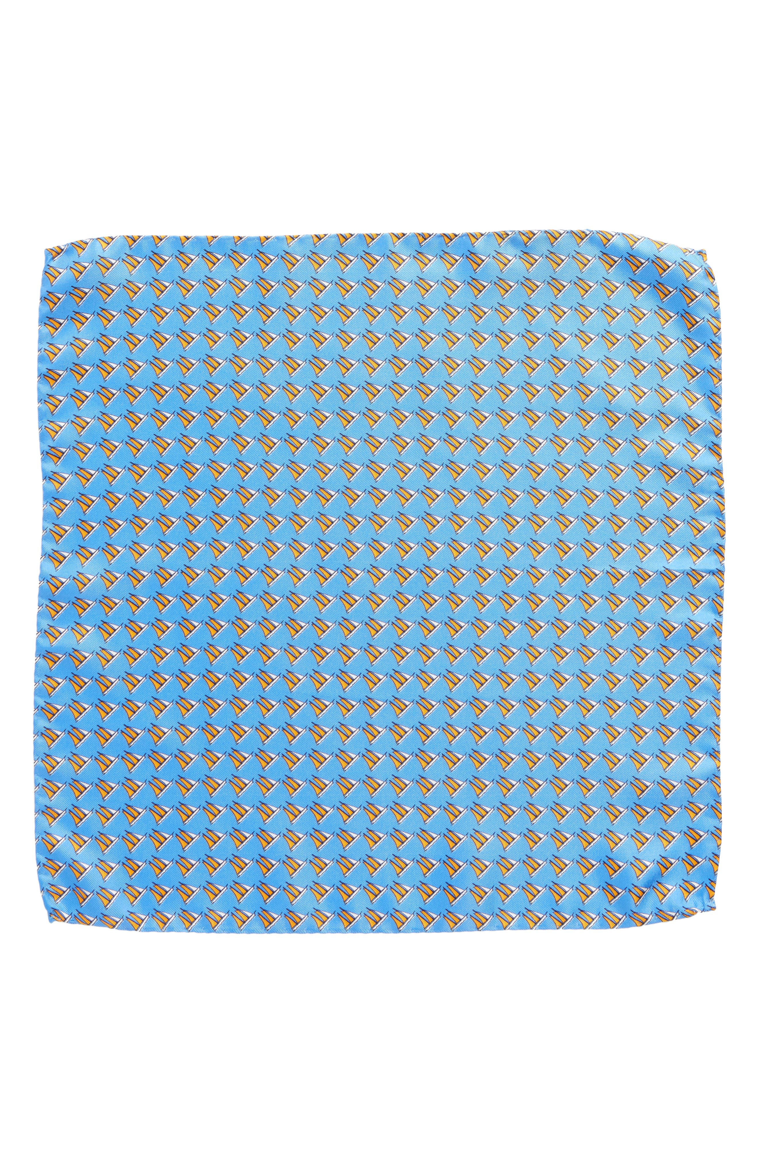 Three Sheets to the Wind Silk Pocket Square,                             Alternate thumbnail 2, color,                             BLUE