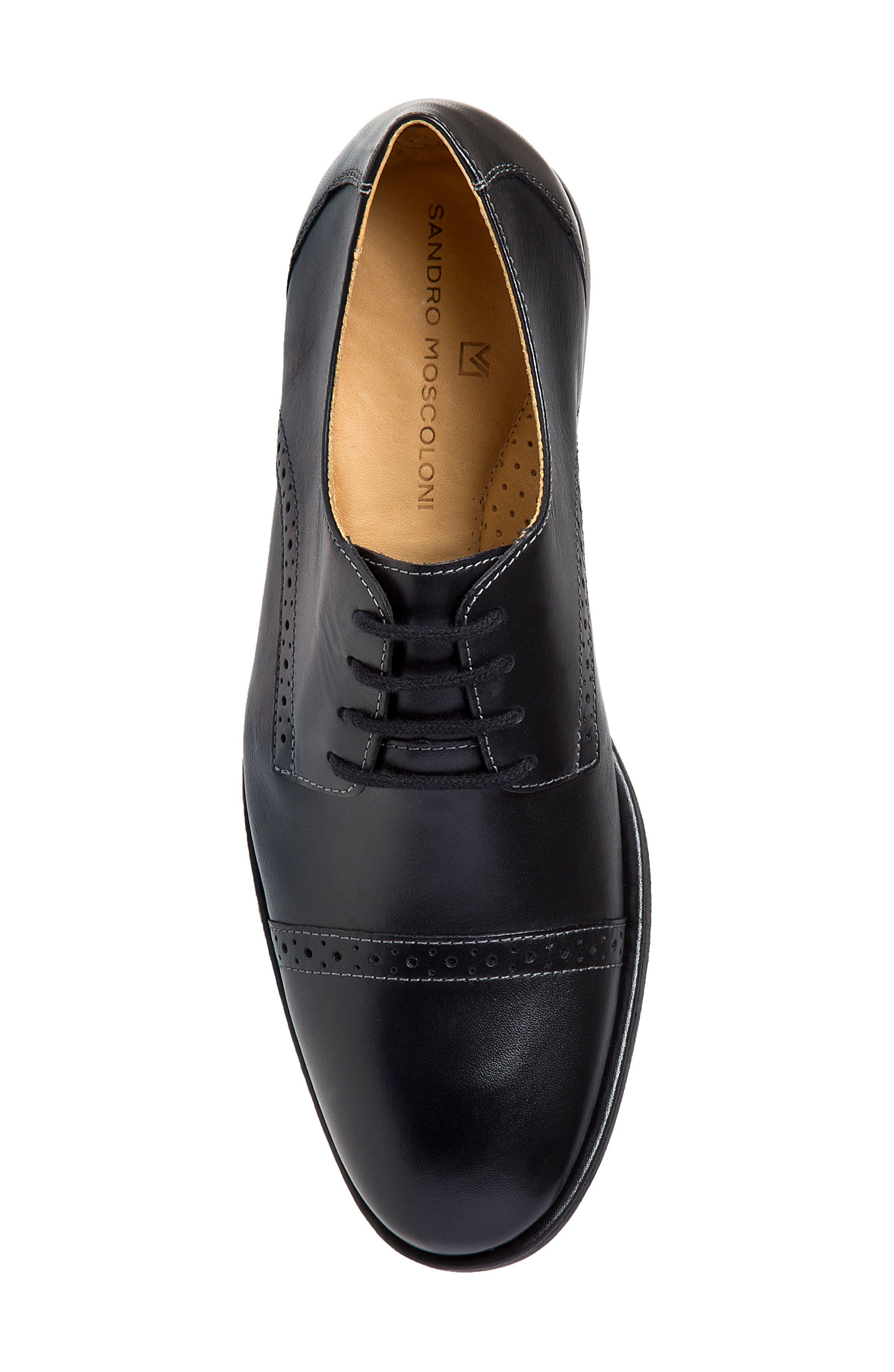 Elbert Cap Toe Derby,                             Alternate thumbnail 4, color,                             BLACK