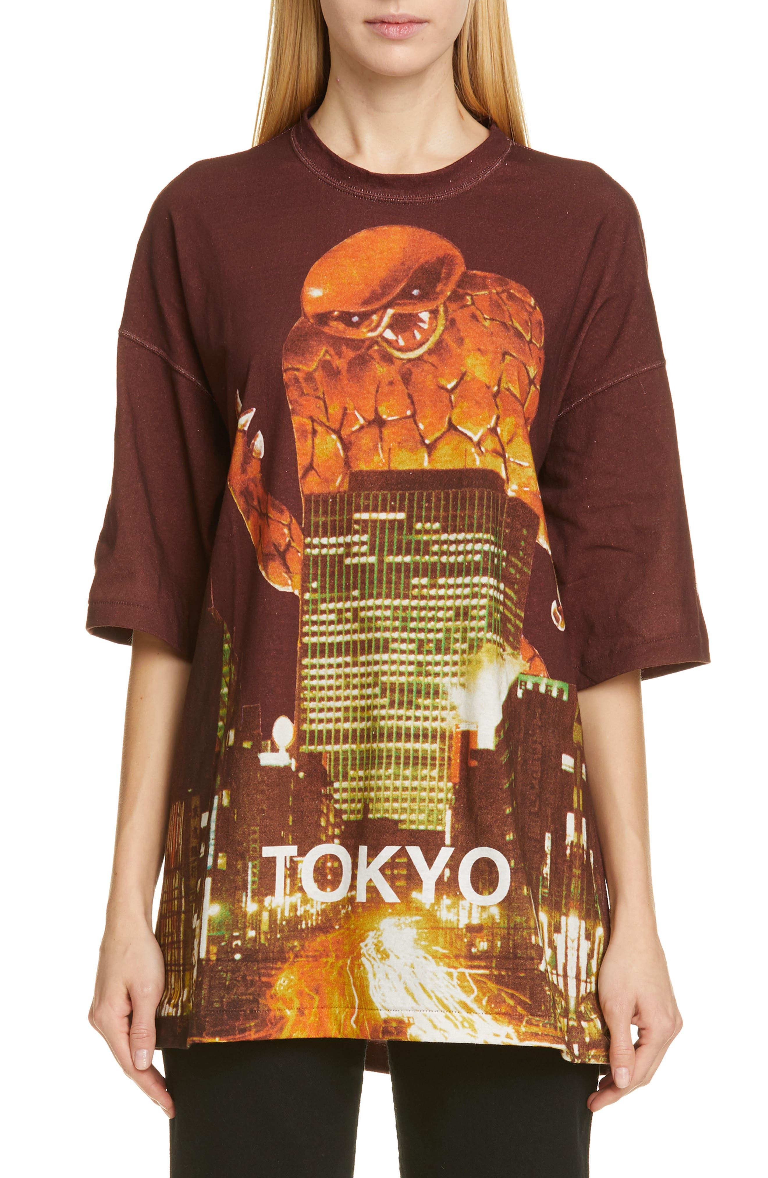 Godzilla City Oversize Tee,                             Main thumbnail 1, color,                             BORDEAUX
