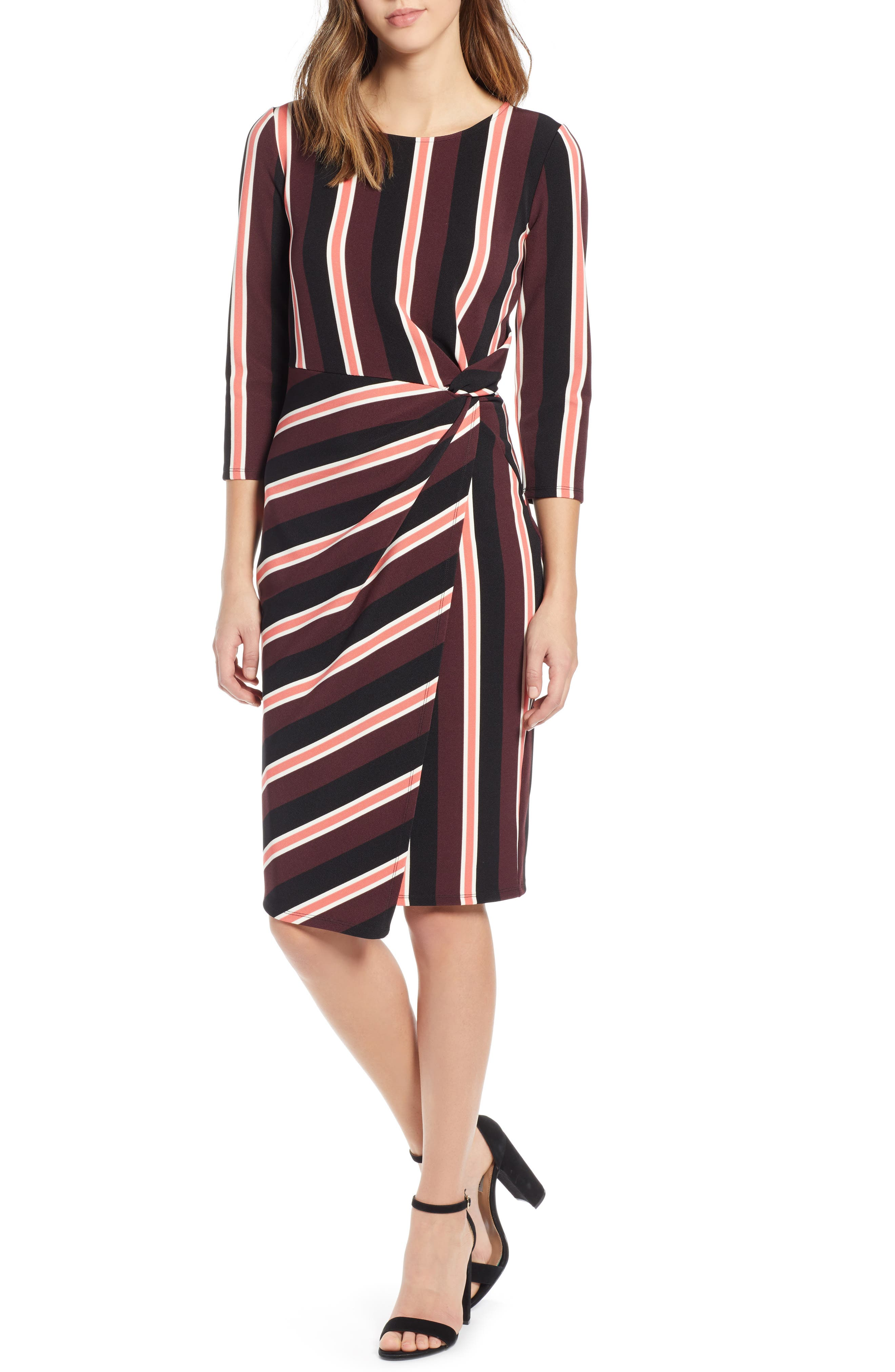 Socialite Side Twist Dress, Burgundy